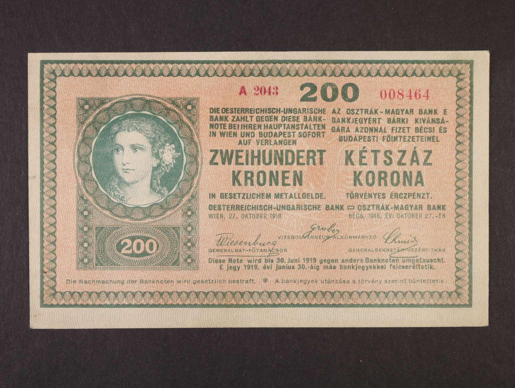 200 K 27.10.1918 série A 2043 s podtiskem na R, Ri. 449b, Pi. 16