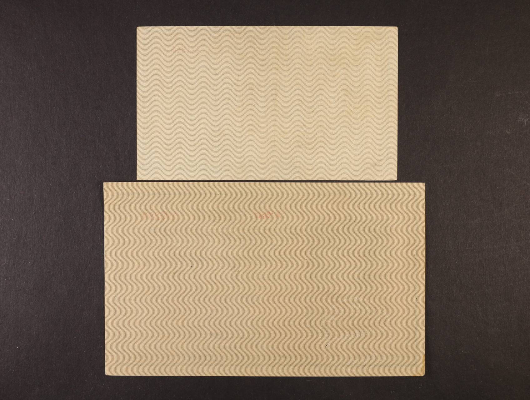 25 K a 200 K 1918 série 3123 a A 2042 s podtiskem na R se suchou pečeťí na R z francouzské okupace maďarského území