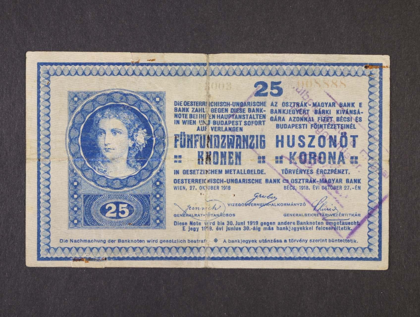 25 K 1918 série 3003 bez podtisku na R s rámečkovým raz. na R z francouzské okupace maďarského území