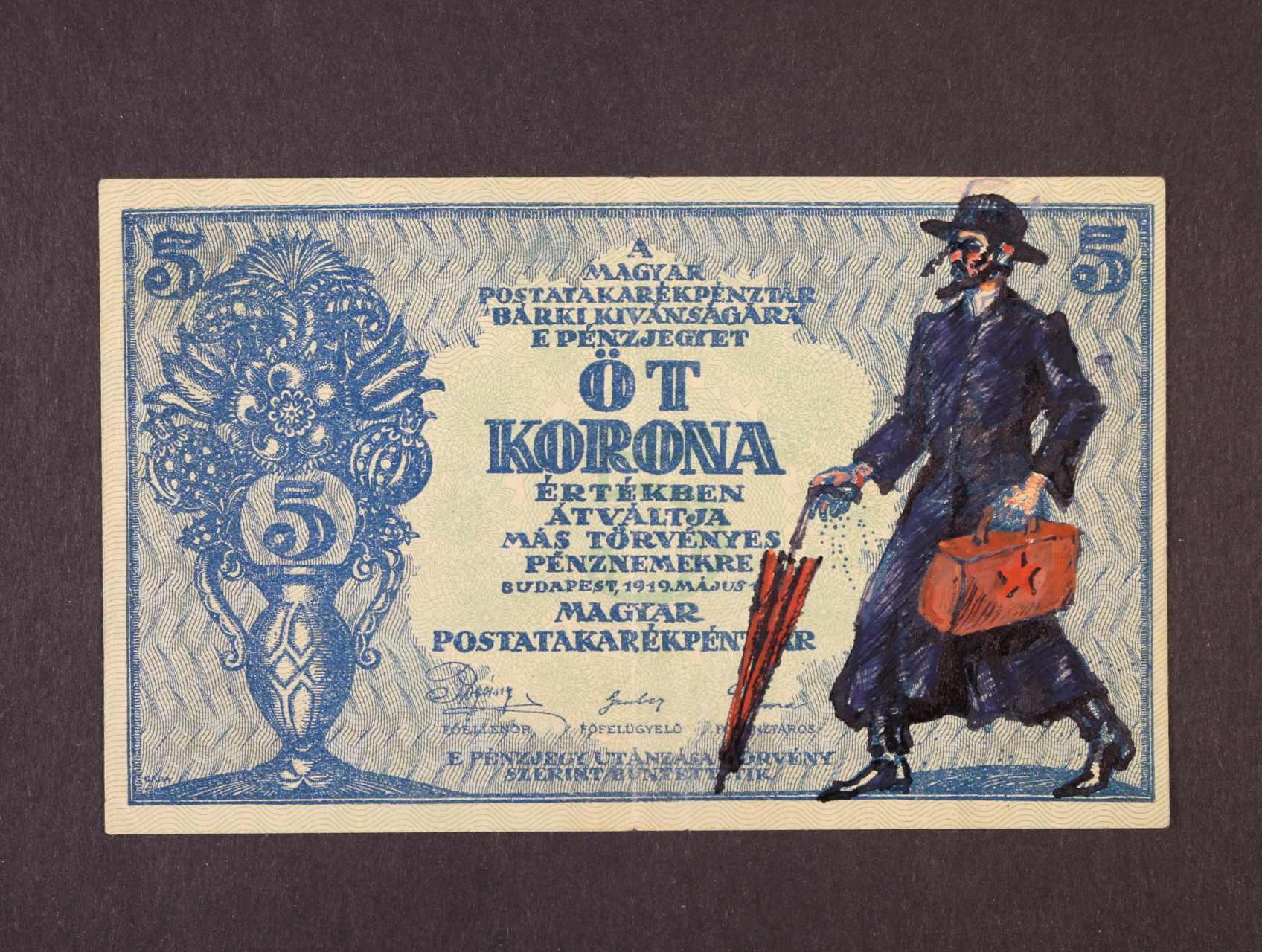 5 Korona 15.5.1919 karikatura - propaganda, dokreslená postava