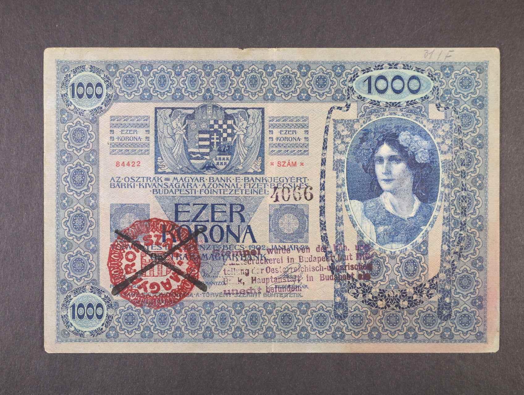 1000 K 2.1.1902 s falešným přetiskem MAGYARORSZÁG, zachyceno - křížové raz. + 5-ti řádkové raz.