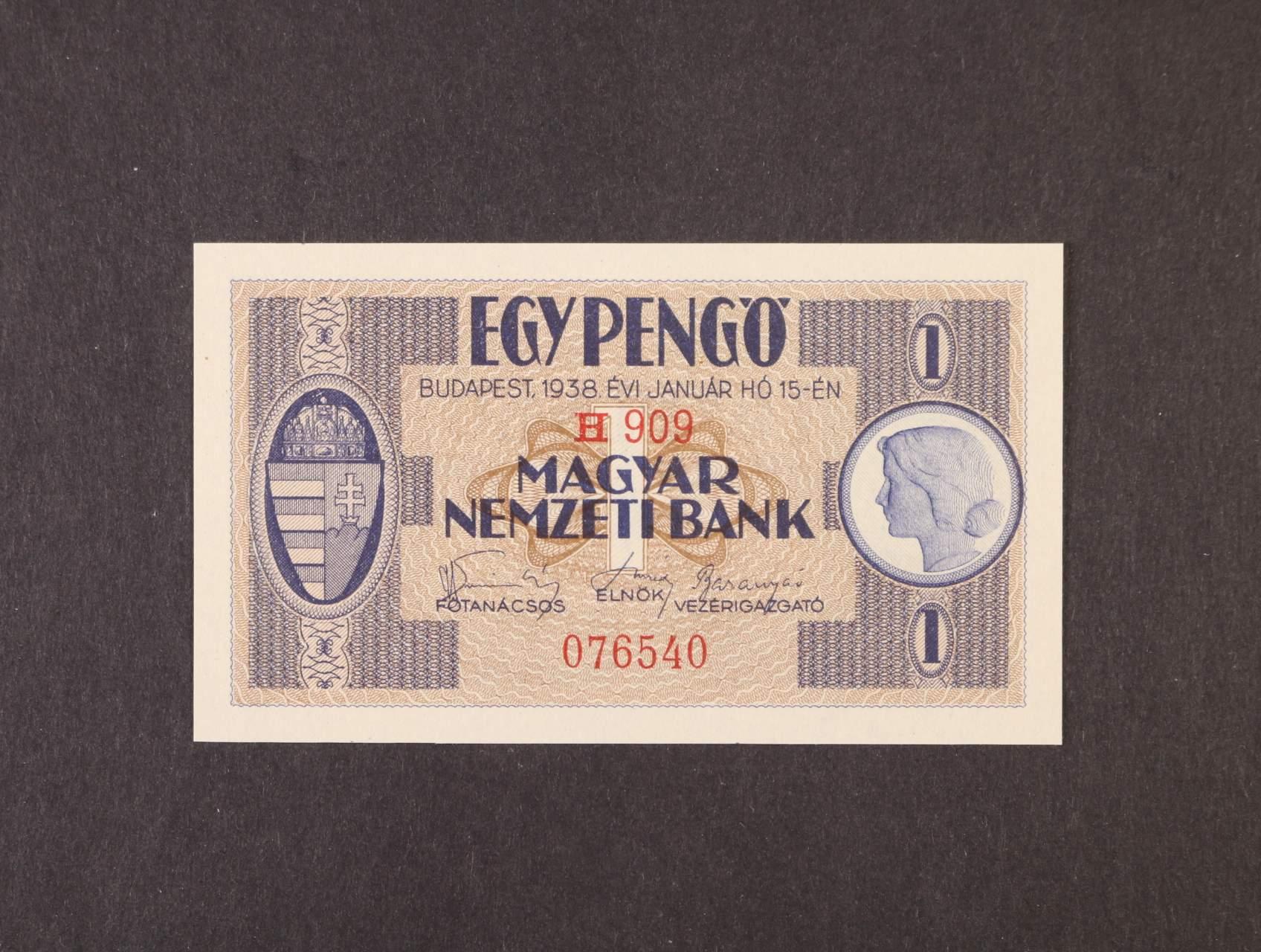 1 Pengö 15.1.1938 série H 909, platná na ČS území, Pi. 102, Ba. H1