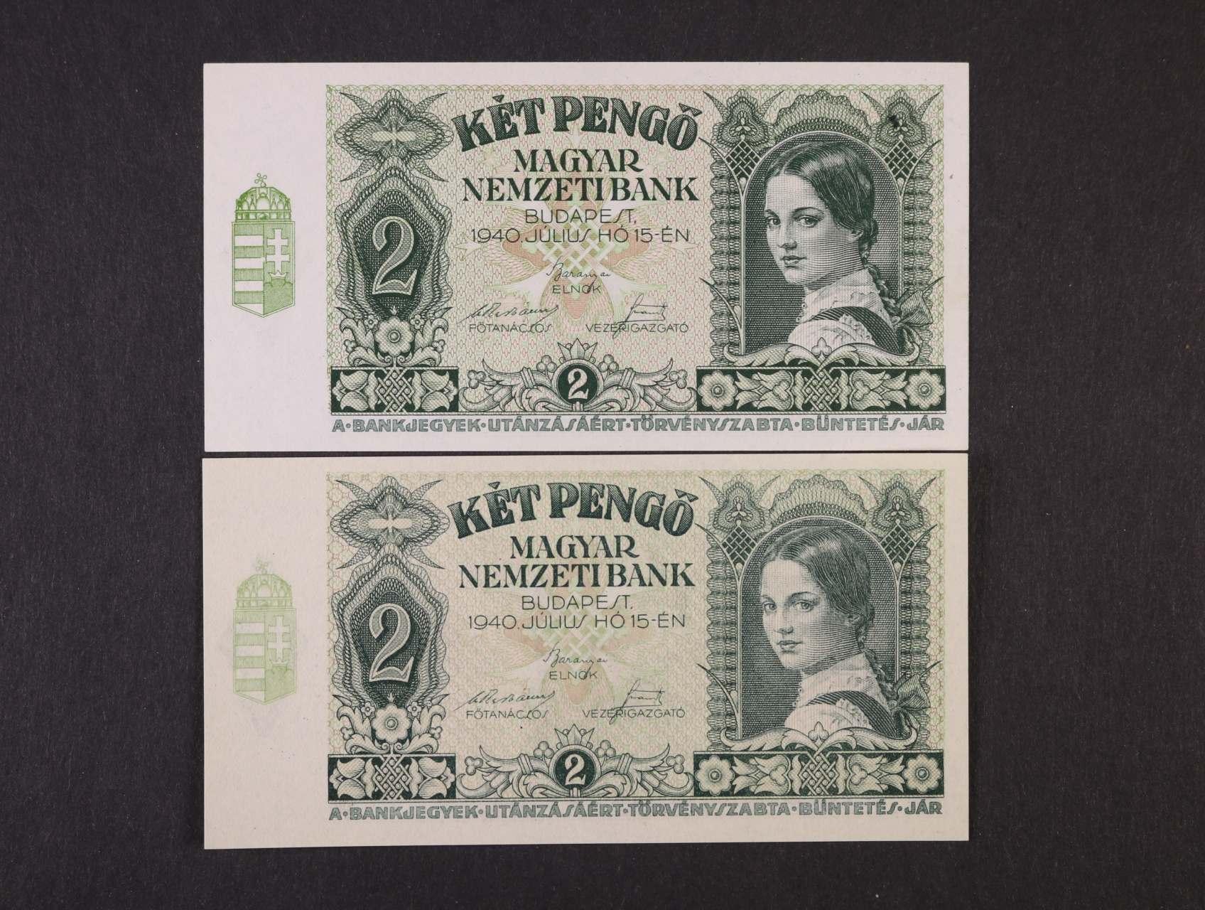 2 Pengö 15.7.1940 série J 799 bílý papír a J 160 žlutý papír, platné na ČS území, Pi. 108, Ba. H2a, 2b, 2ks