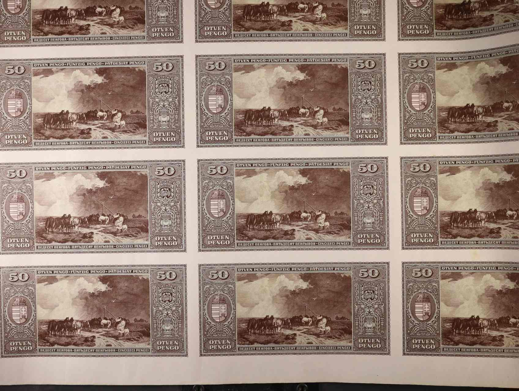 50 Pengö 5.4.1945 tisk pouze rubové strany v kompletním 35-ti kusovém archu, Pi. 110x