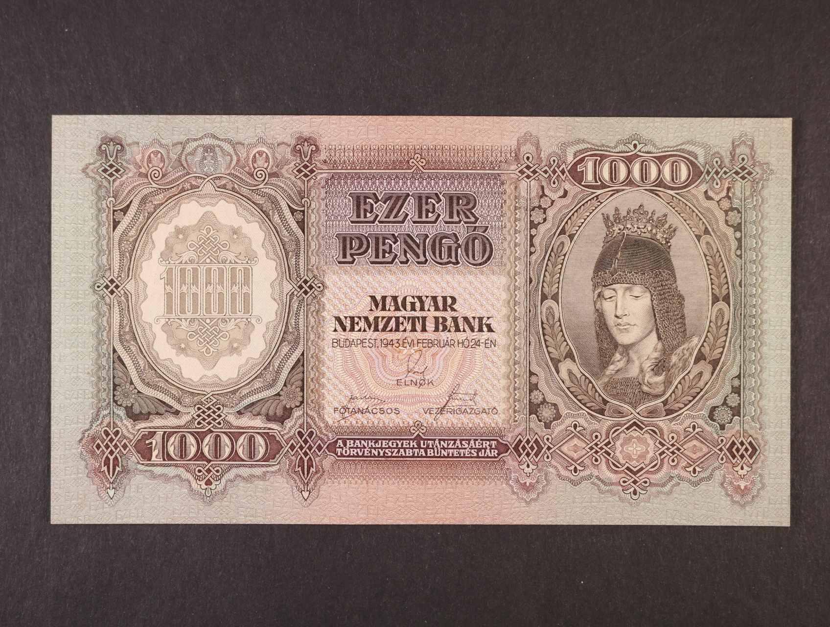 1000 Pengö 24.2.1943 série F 023, platná na ČS území,  Pi. 116, Ba. H12