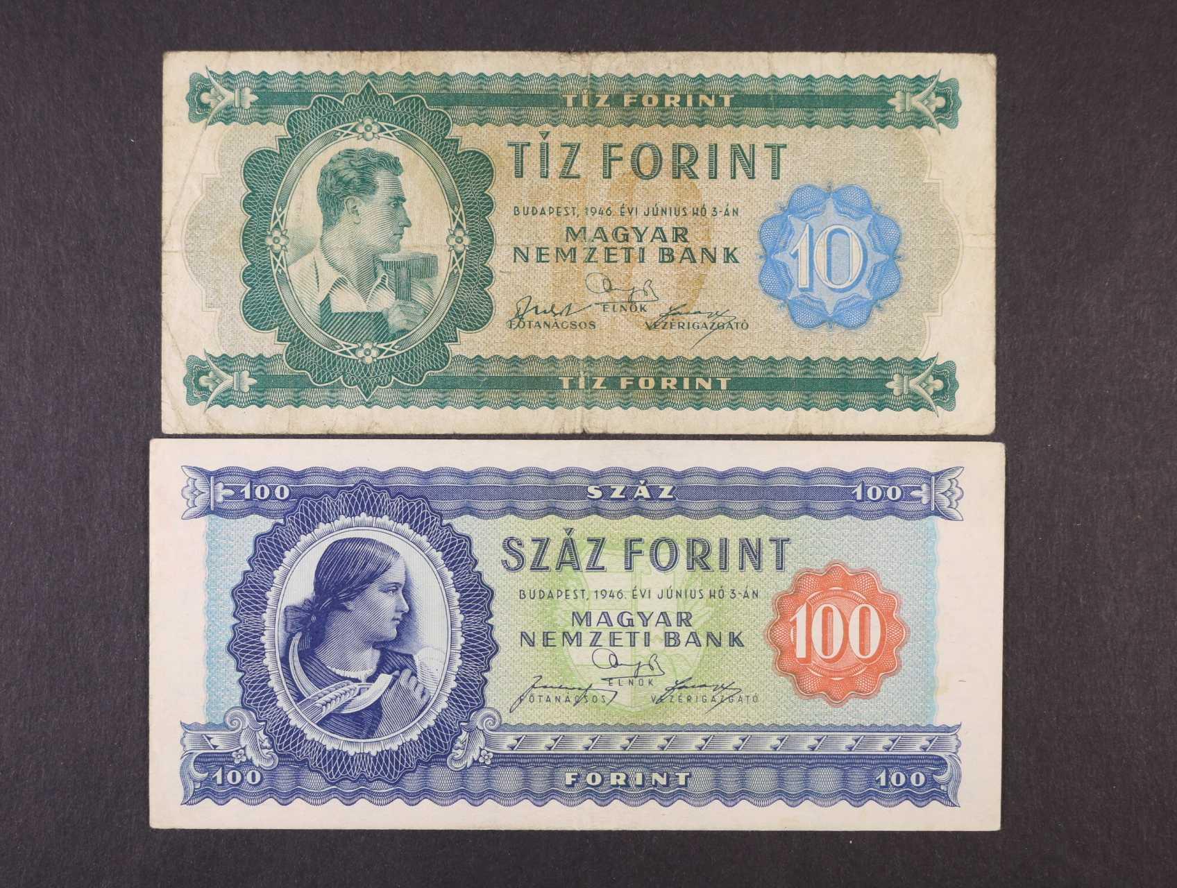 10 a 100 Forint 3.6.1946, Pi. 159, 160