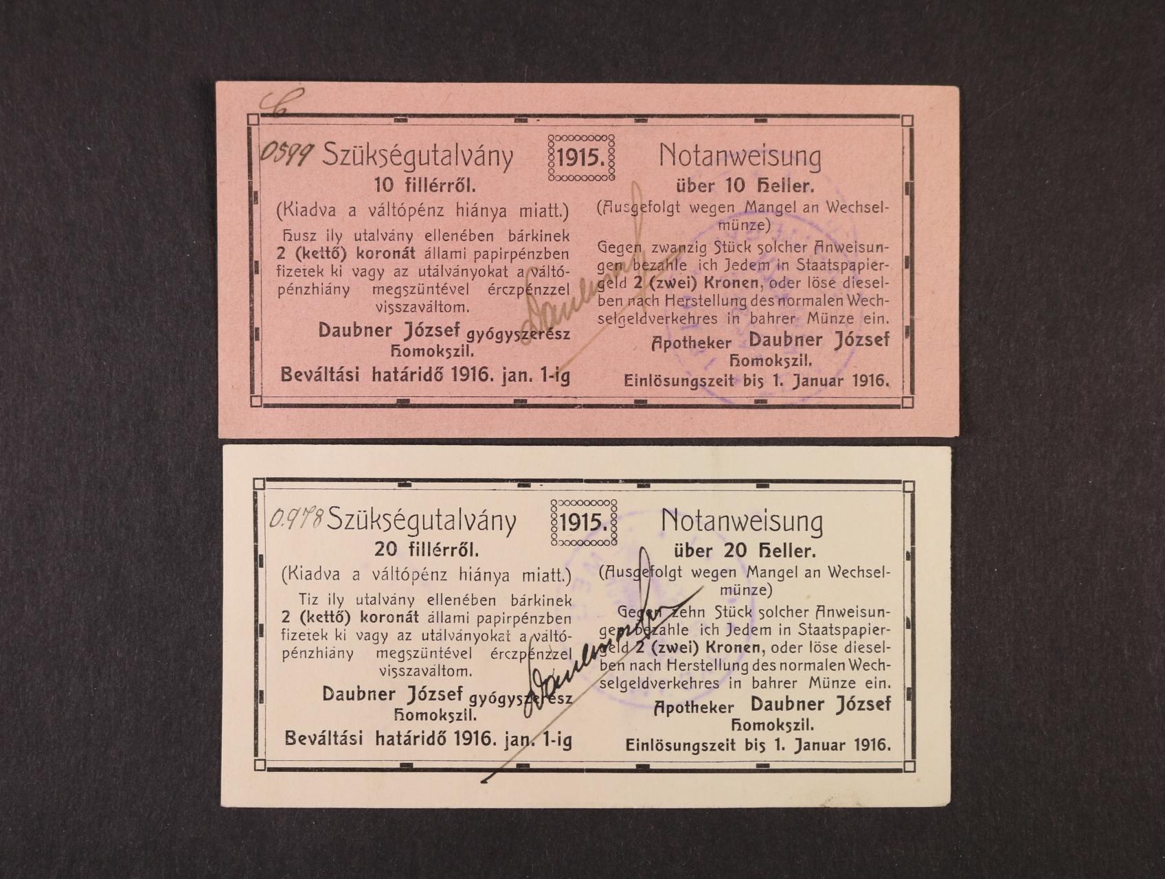 Homokszil (Uljma Srbsko), 10 a 20 heller 1.1.1916 Apotheker Daubner József, raz. podpisy