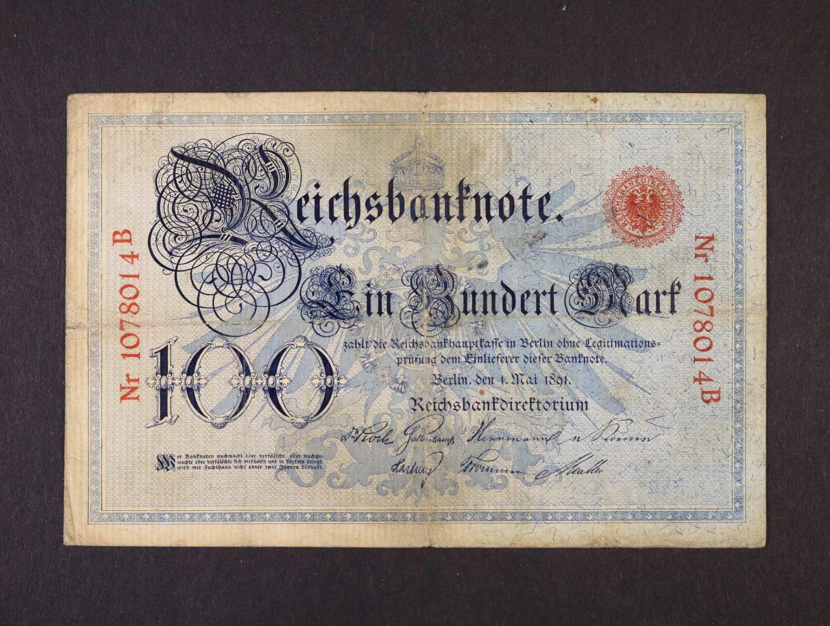 100 Mark 1.5.1891 série B, vzácná, Ro. 12