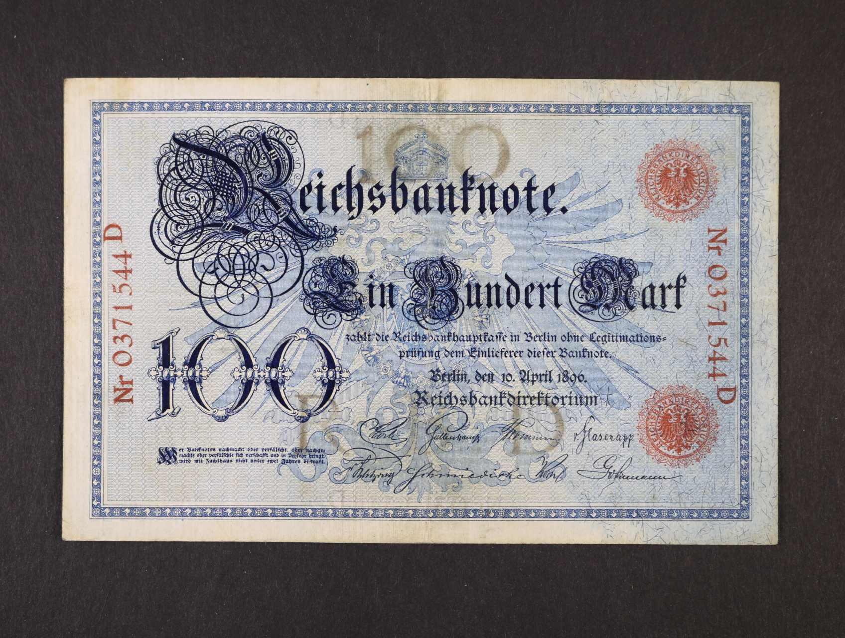 100 Mark 10.4.1896 série D, vzácná, Ro. 15