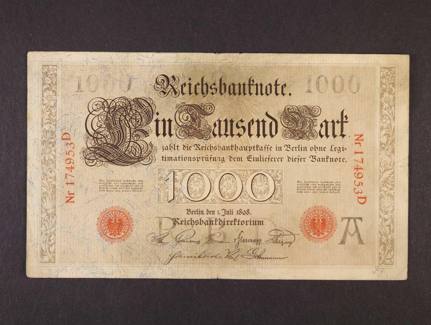1000 Mark 1.7.1898 série , Ro. 18