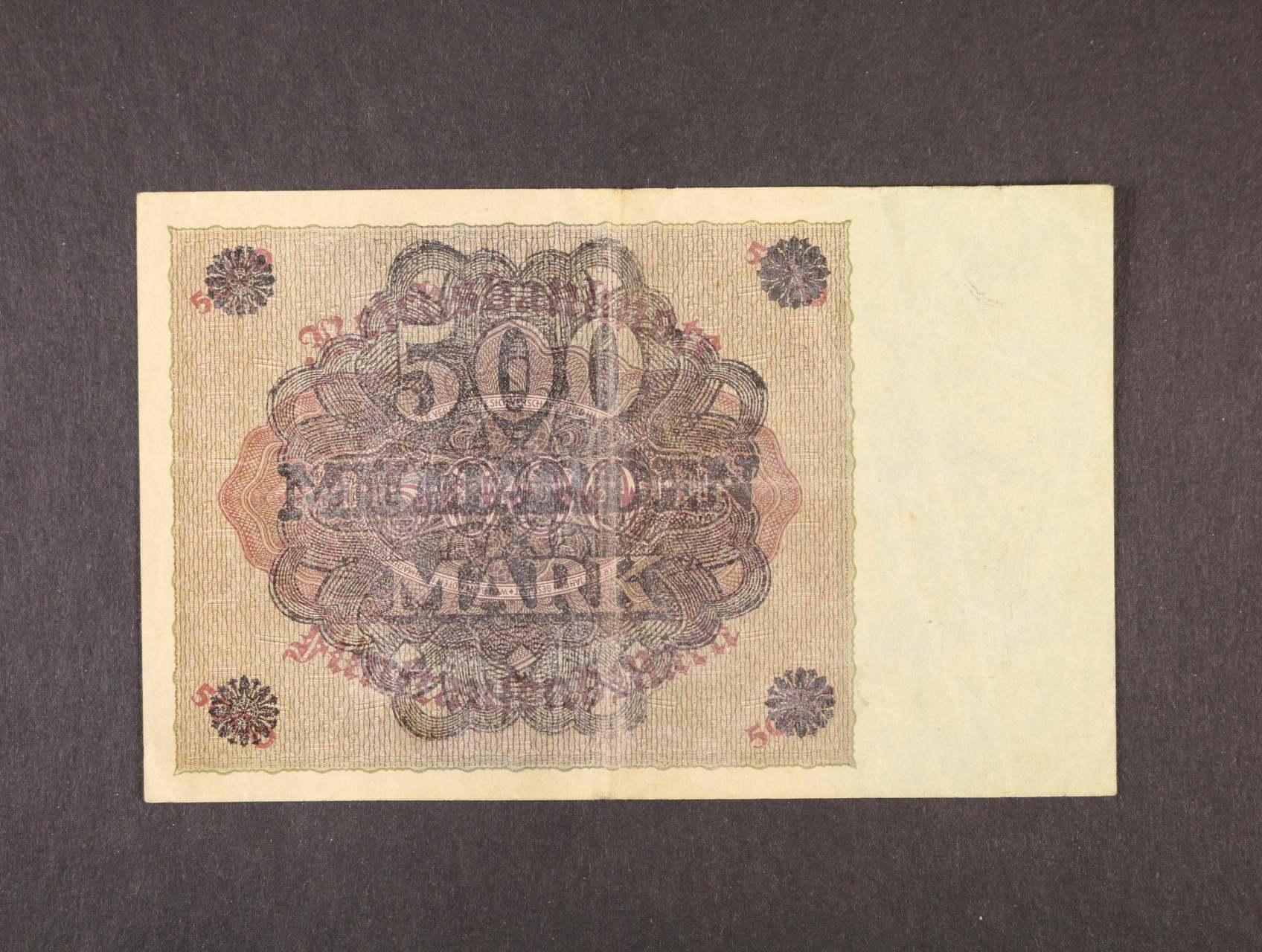 chybotisk, 500 Mrd. Mark 15.3.1923 chybotisk s přetiskem pouze na rubové straně, Ro. 121F