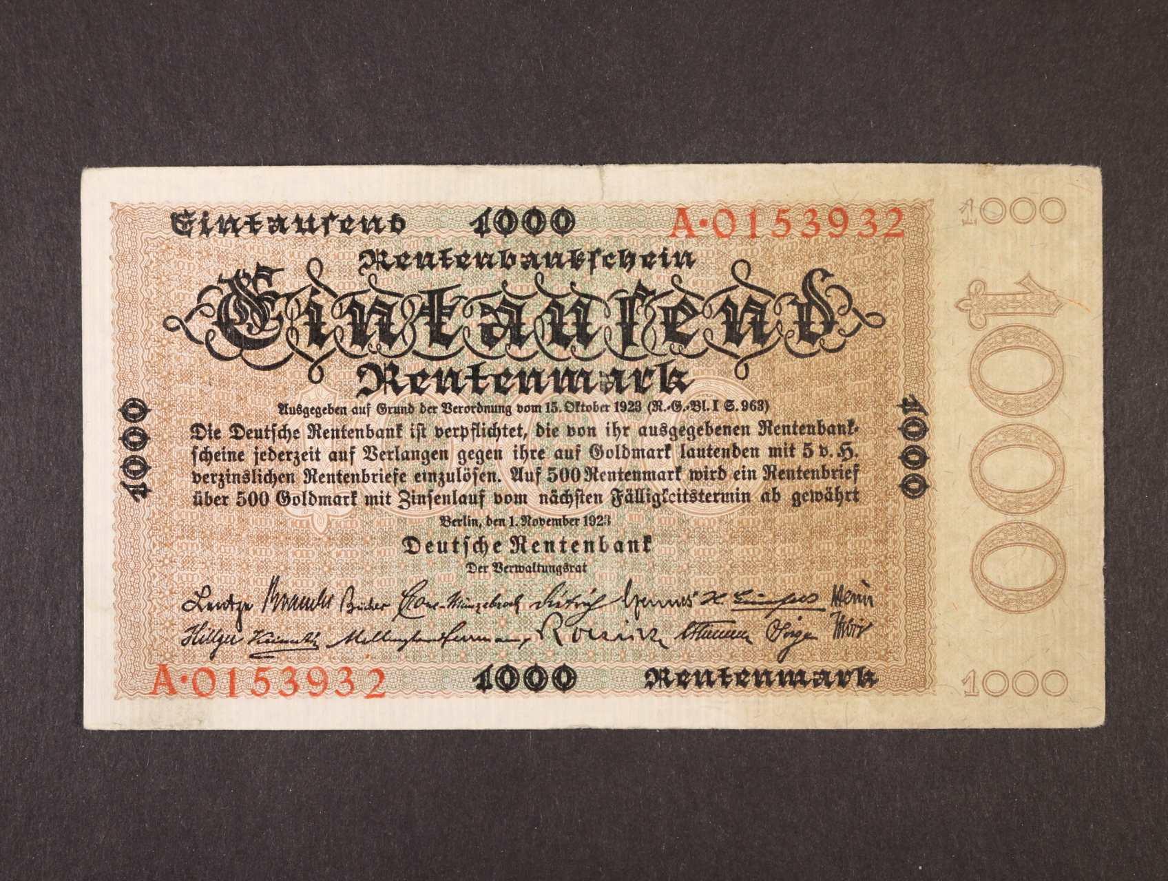 1000 Rtm 1.11.1923 série A, platná na ČS území, Ro. 161, Ba. D19
