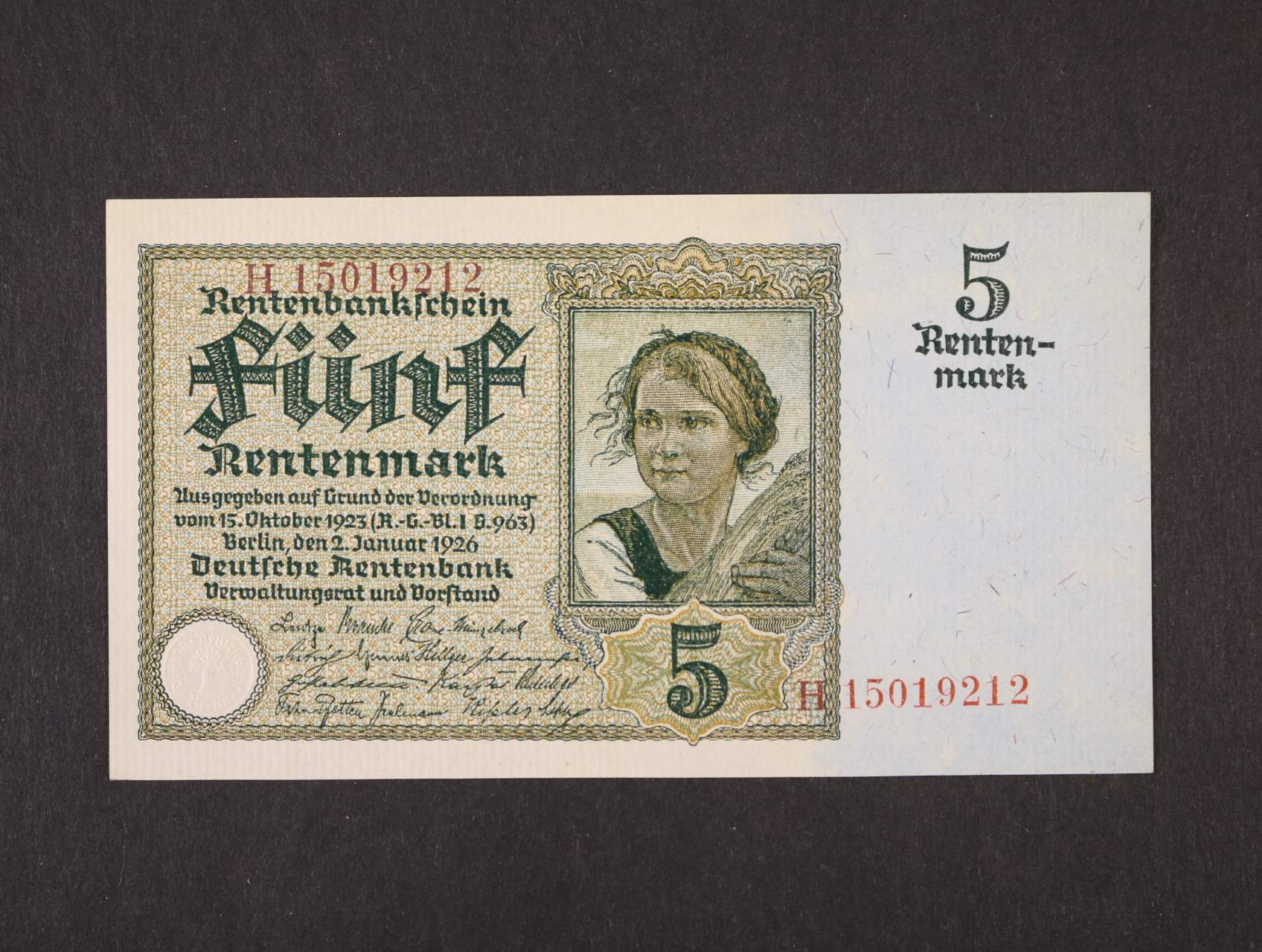 5 Rtm 2.1.1926  série H, 8-mi místný červený číslovač, platná na ČS území, Ro. 164b, Pi. 169, Ba. D13b