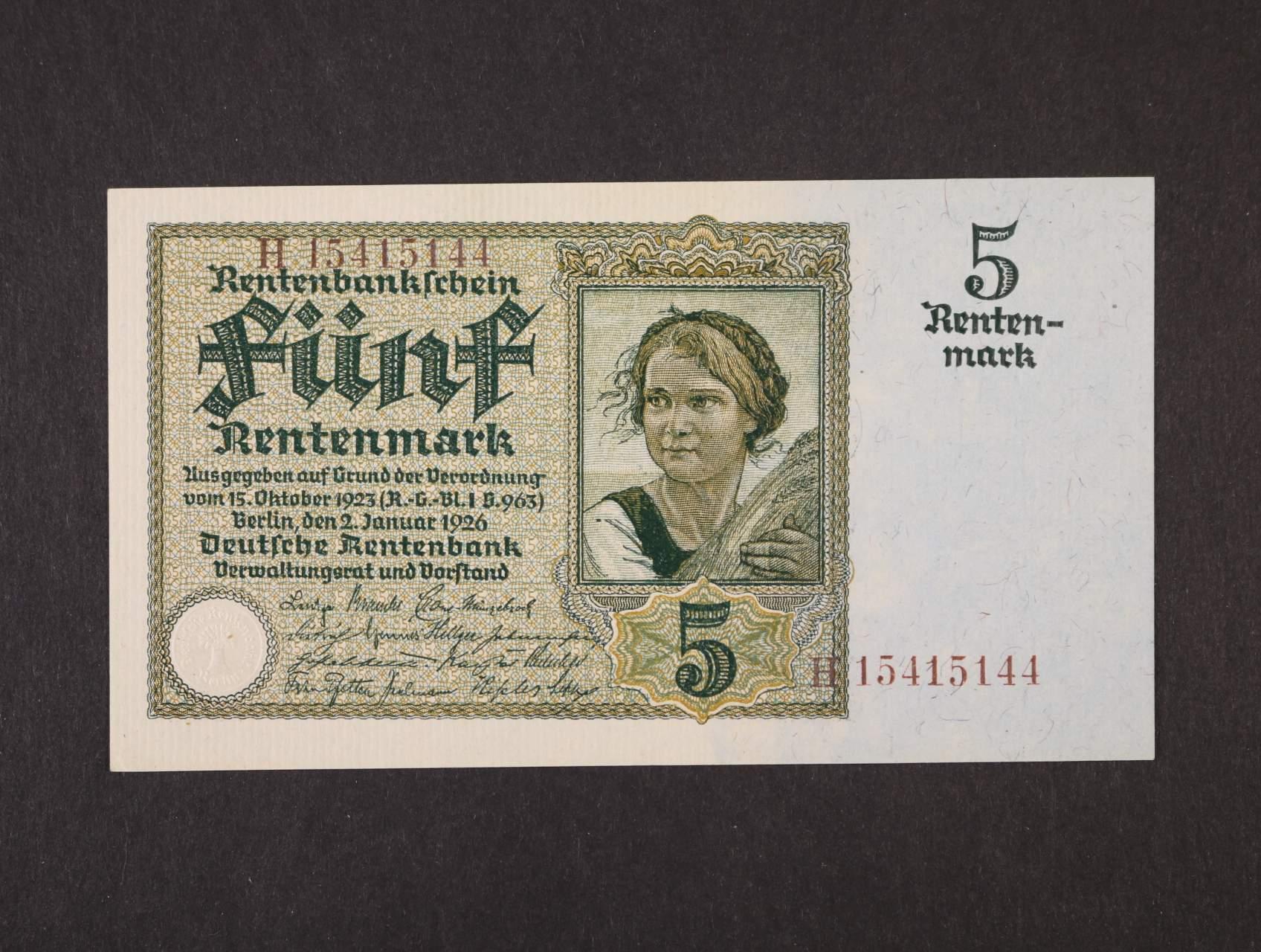 5 Rtm 2.1.1926  série H, 8-mi místný hnědý číslovač, platná na ČS území, Ro. 164b, Pi. 169, Ba. D13b