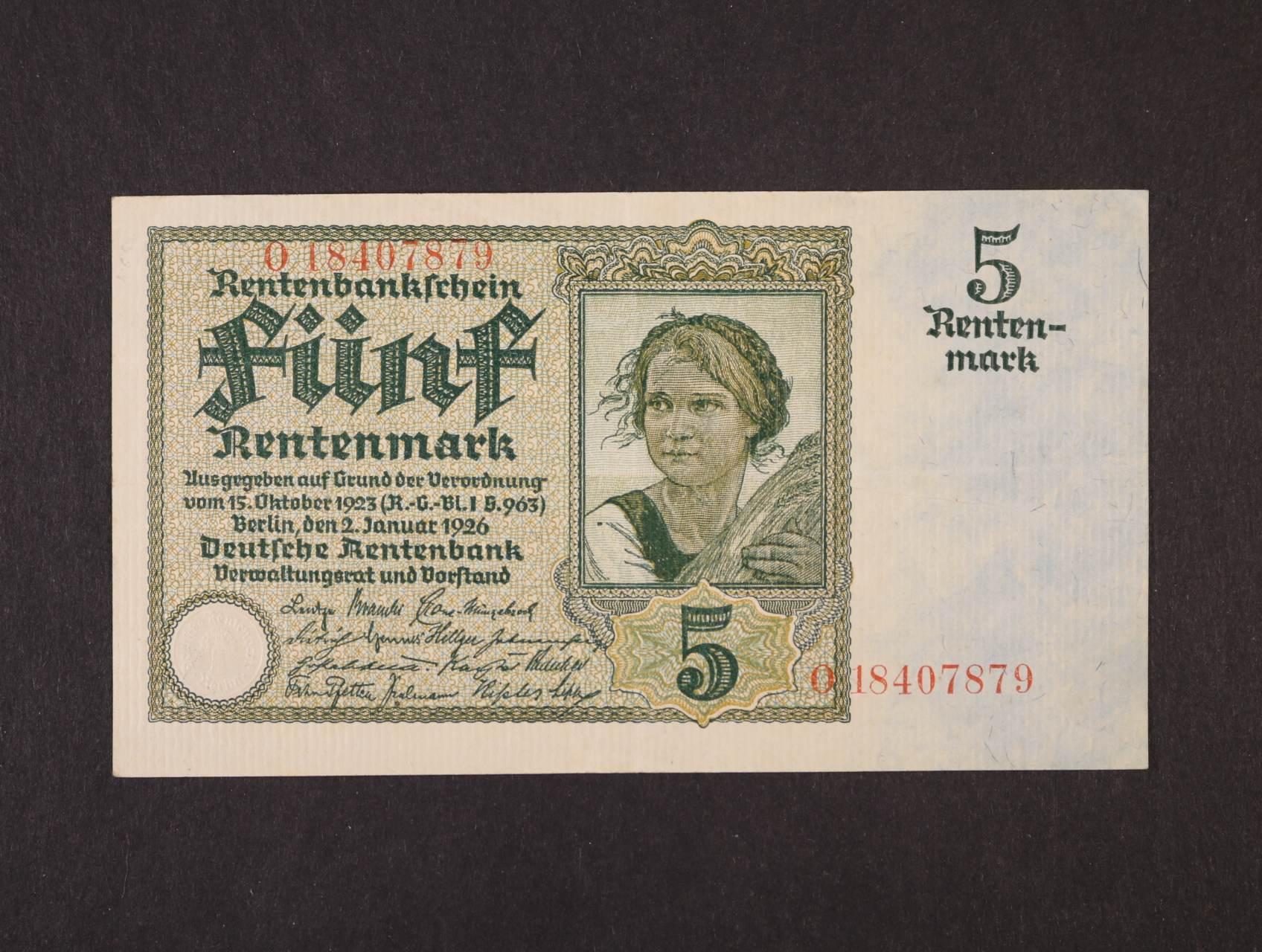 5 Rtm 2.1.1926  série O, 8-mi místný číslovač, platná na ČS území, Ro. 164b, Ba. D13b