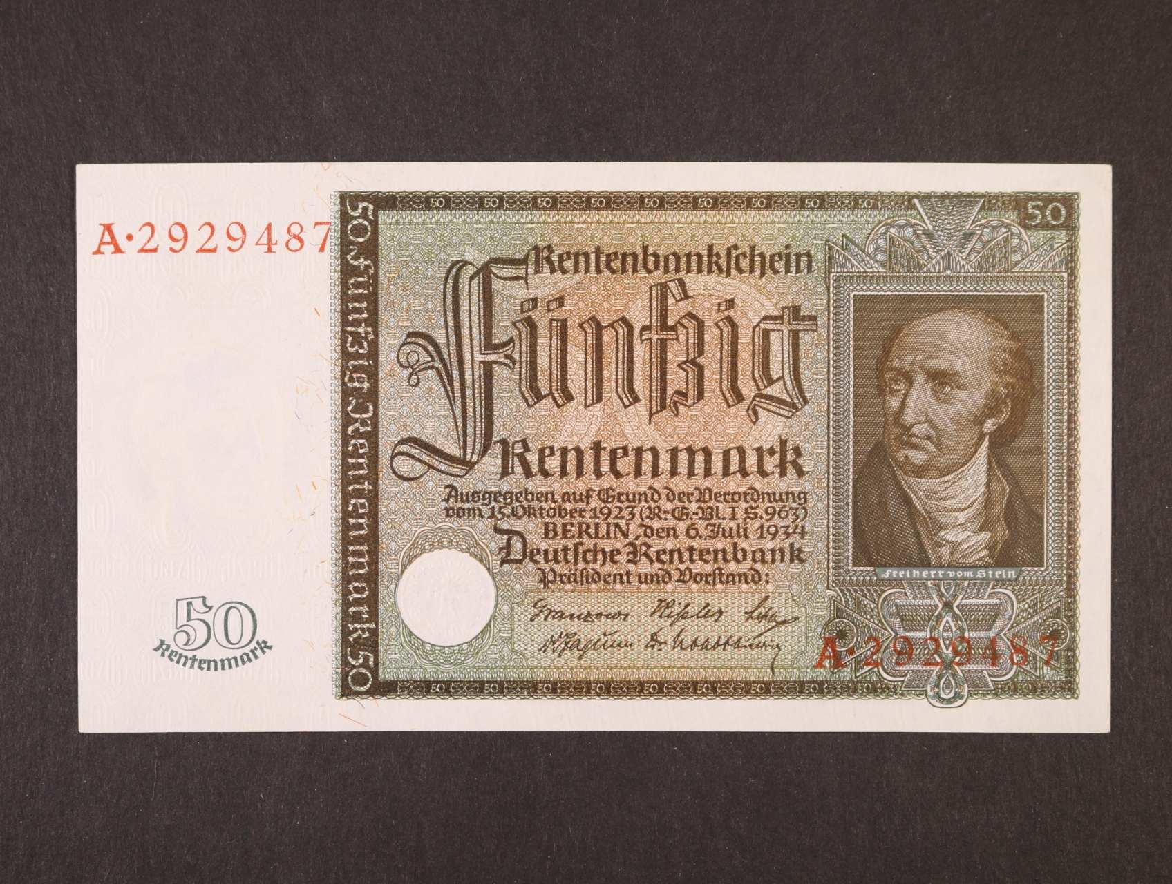 50 Rtm 26.7.1934 série A, platná na ČS území, Ro. 165, Ba, D16, krásná zachovalost