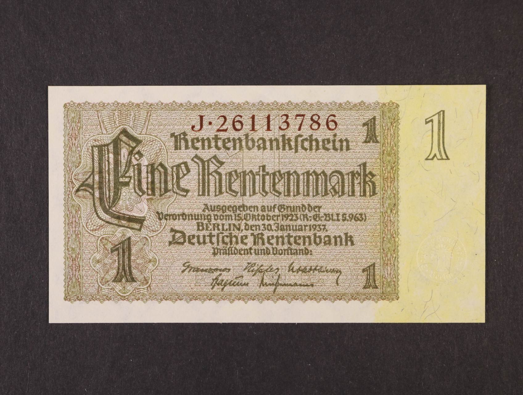 1 Rtm 30.1.1937 série J 8-mi místný říšský hnědý číslovač, platná na ČS území, Ro. 166b, Ba. D11b