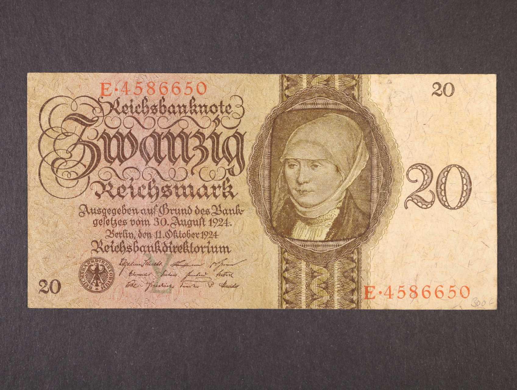 20 RM 11.10.1924 série E podtisk písmeno Y, Ro. 169, Pi. 176