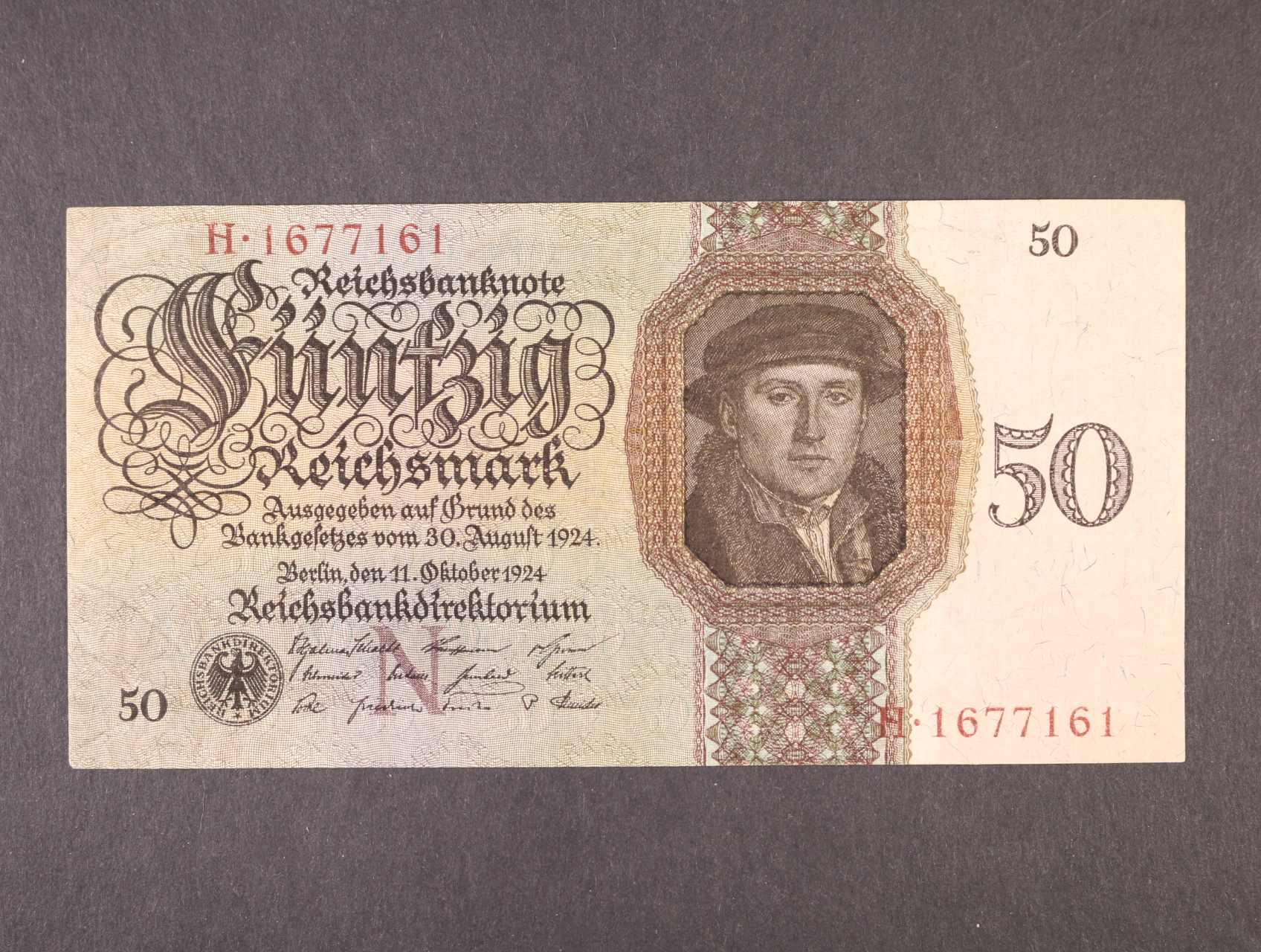 50 RM 11.10.1924 série H, podtisk. písmeno N, platná na ČS území, Ro. 170a, Ba. D5