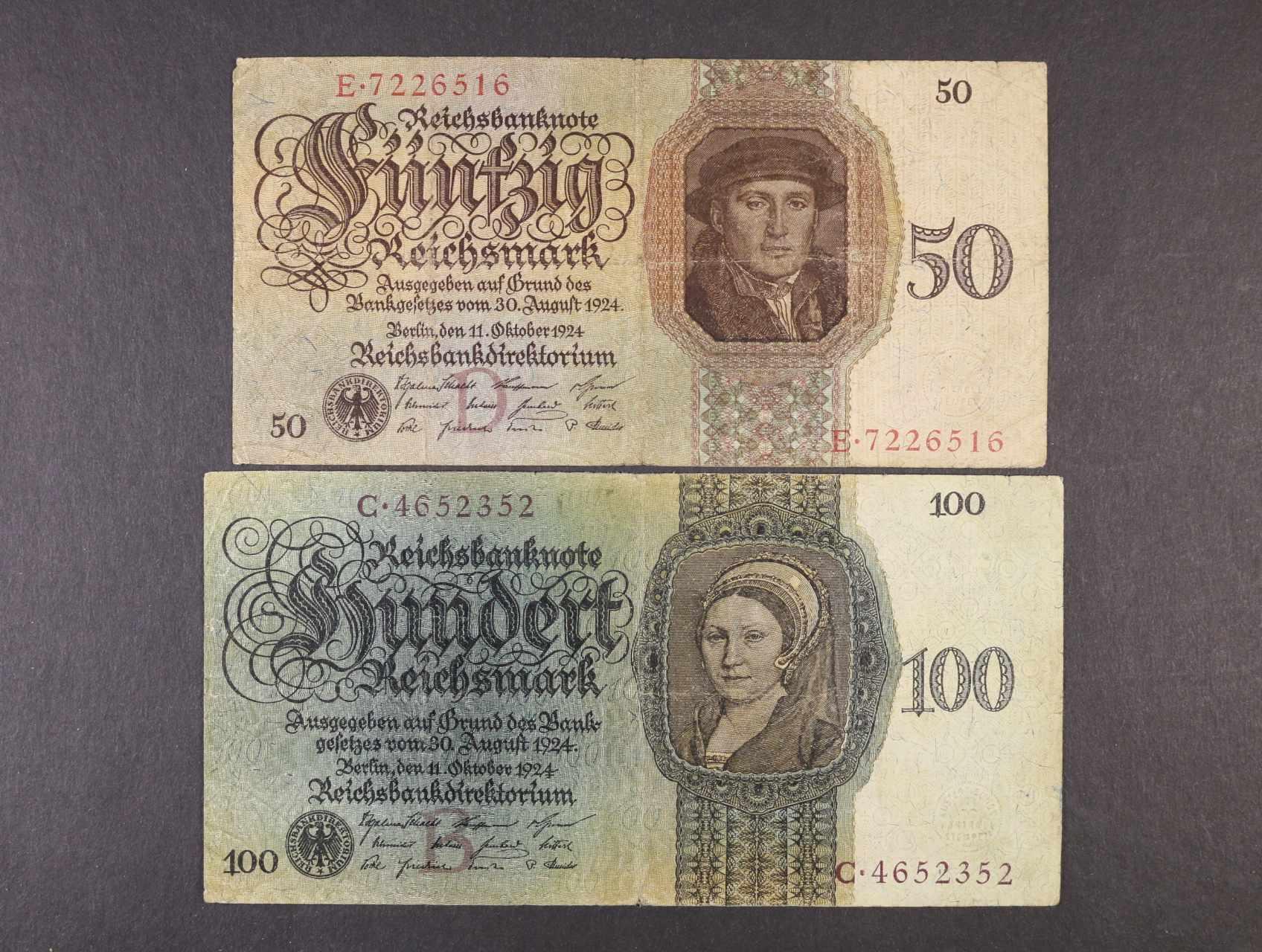 50 RM 11.10.1924 série E, podtiskové písmeno D a 100 RM 11.10.1924 série C, podtiskové písmeno B, platné na ČS území, Ro. 170, 171, Ba. D5, D7