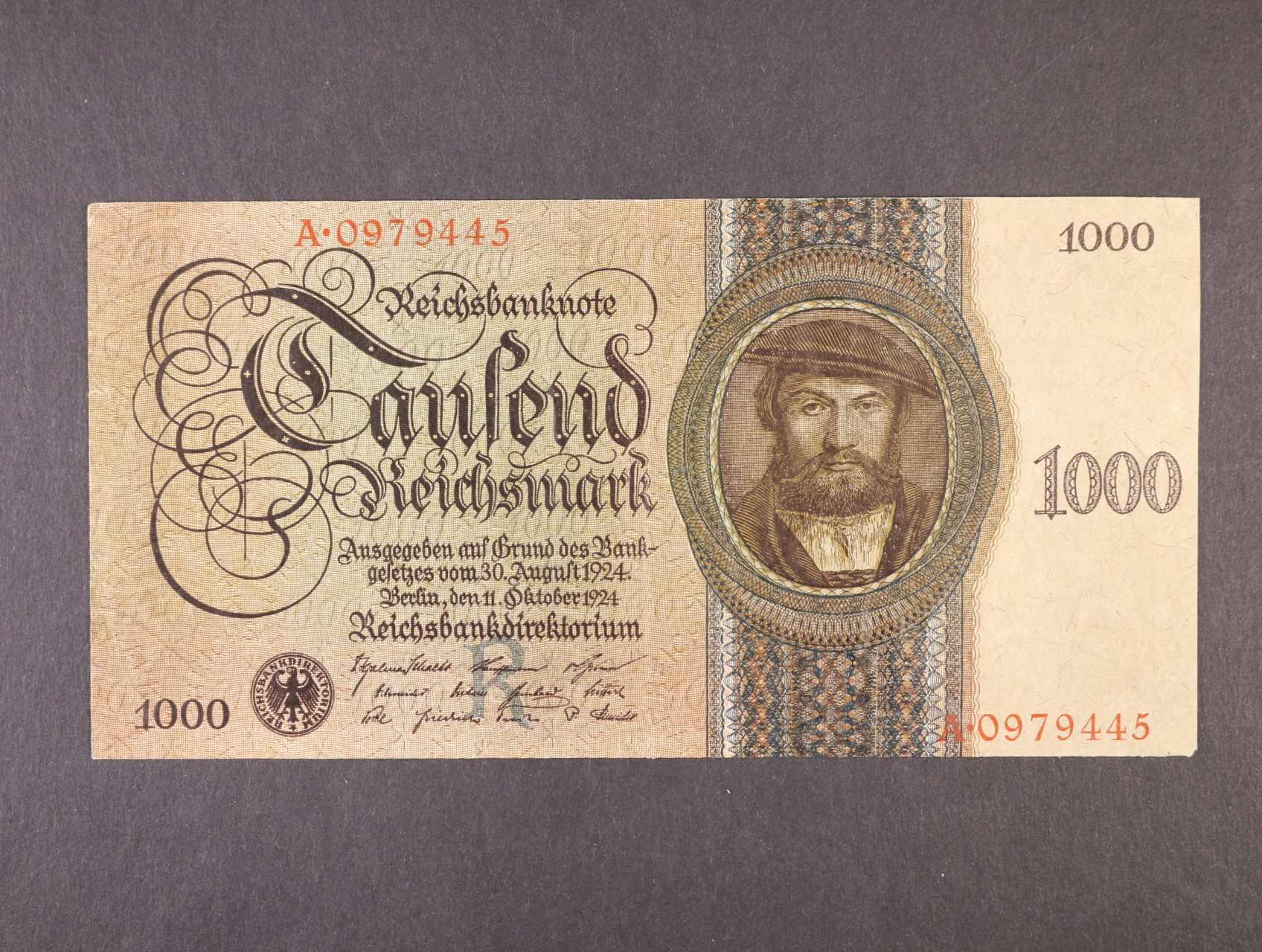 1000 RM 11.10.1924 série A, podtisk. písmeno R, platná na ČS území, Ro. 172a , Pi. 179, Ba. D9