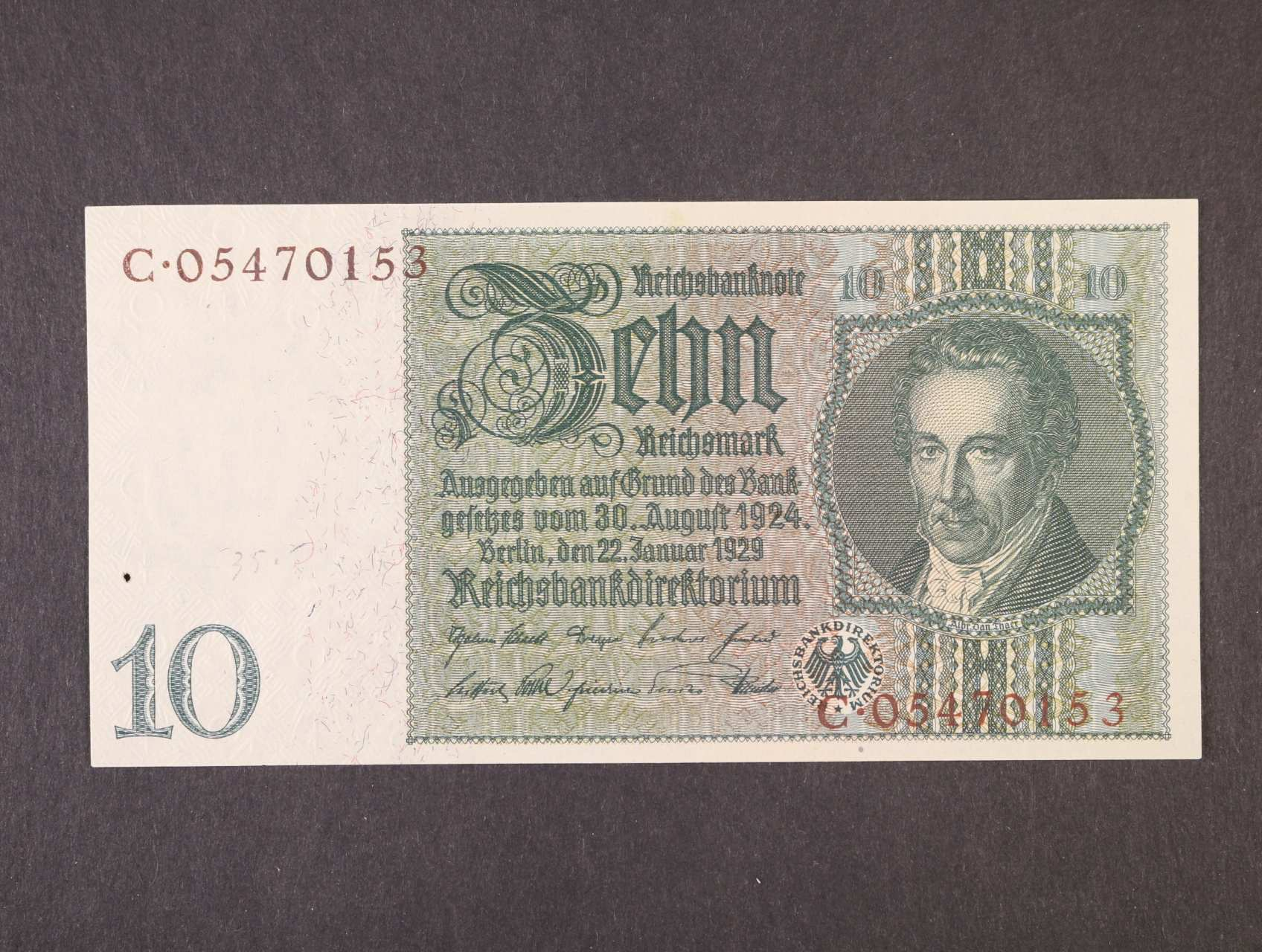 10 RM 22.1.1929 série C válečné vydání, hnědý číslovač, platná na ČS území, Ro. 173c, Ba. D2d,