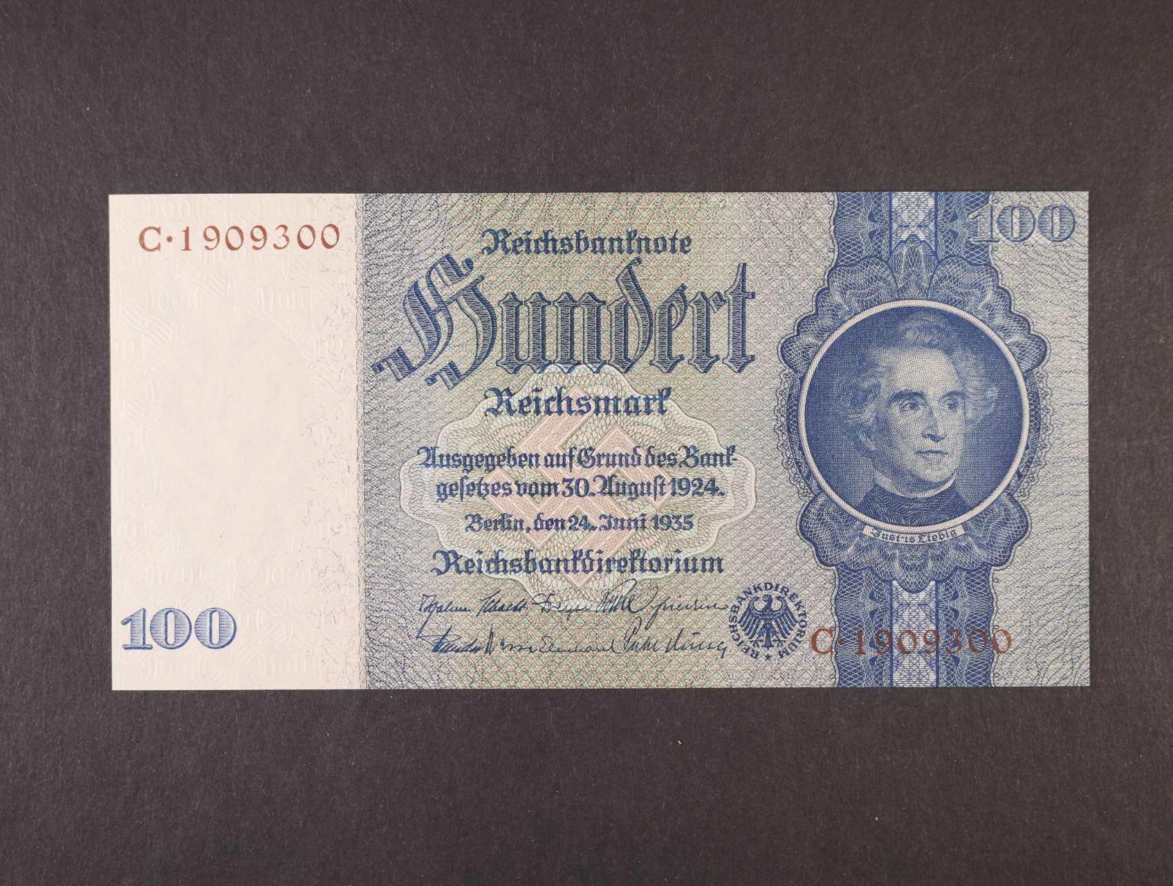 100 RM 24.6.1935 série C, hnědý číslovač, válečné vydání, platná na ČS území, Ro. 176c, Ba. D8d