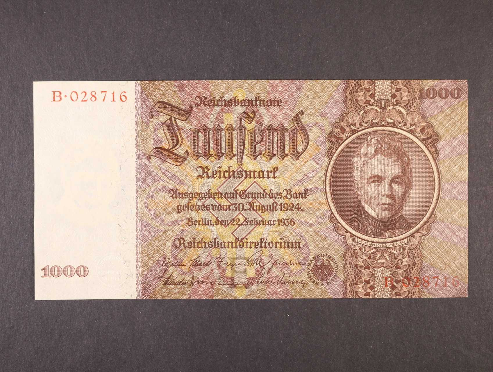 1000 RM 22.2.1936 série B, podtisk. písmeno E, platná na ČS území, Ro. 177 , Pi. 184, Ba. D10
