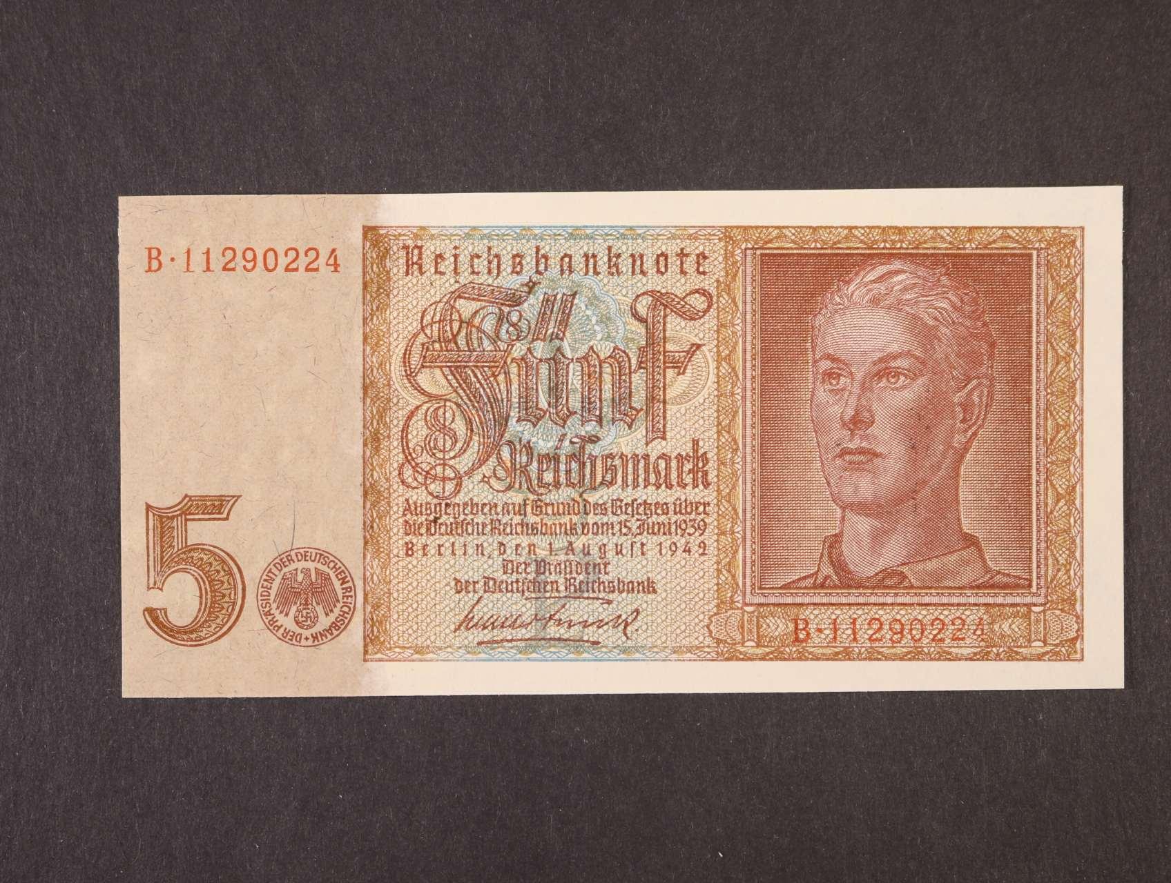 5 RM 1.8.1942 série B 8-mi místný číslovač s převráceným vodoznakem