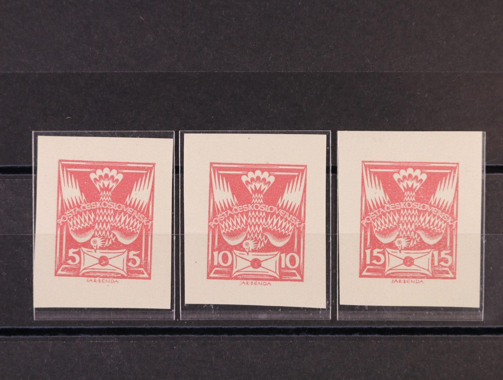 ZT 5, 10 a 20h v barvě červené (rozstříhaný soutisk)