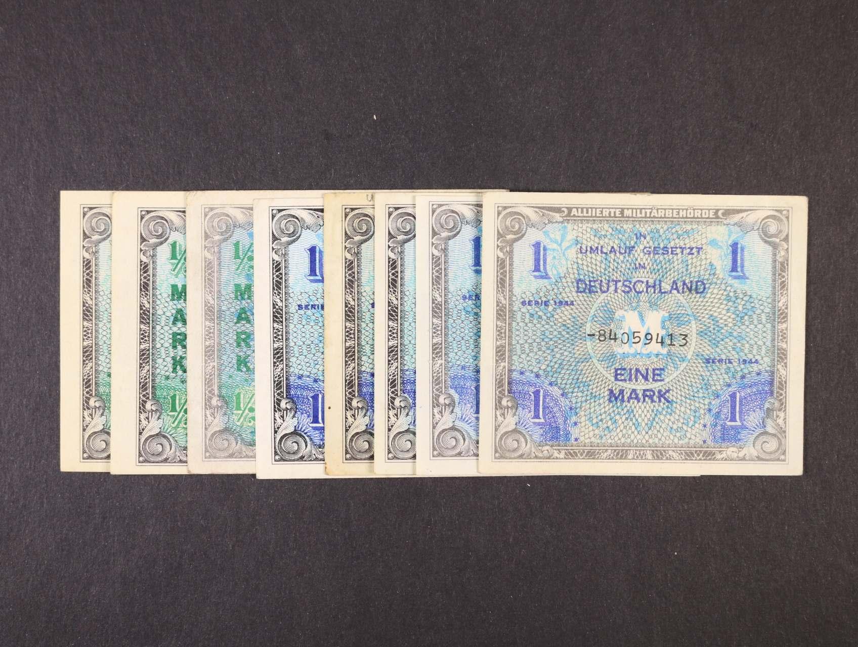 Allierte, 1/2 Mark 1944 9-ti místný číslovač, tisk USA (2x) + 8-mi místný číslovač, tisk SSSR, 1 Mark 1944 9-ti místný číslovač, tisk USA (3x) + 8-mi a 9-ti místný číslovač, tisk SSSR, platné na ČS území, Ro. 200 a, c, 201a, c, d, Ba. AM1a, c, 2a, c, d, 8ks
