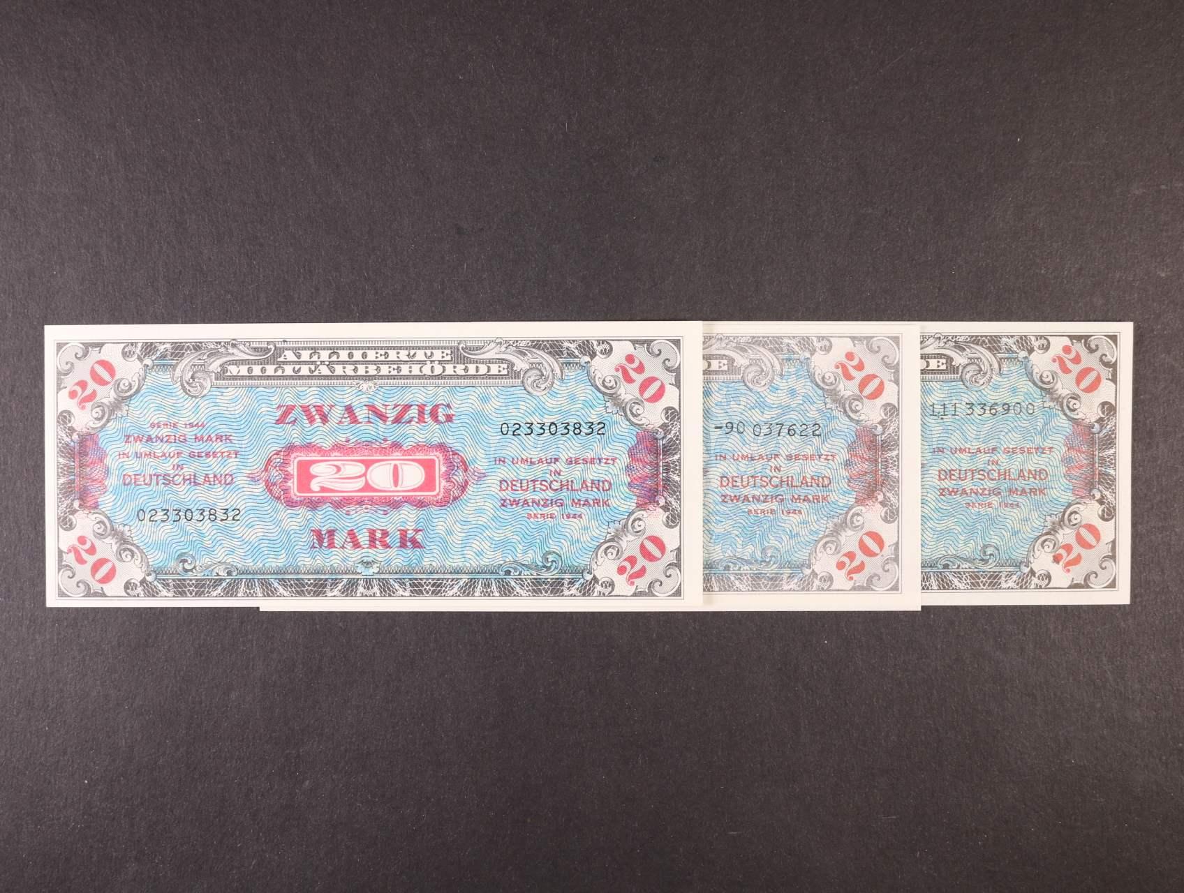 Allierte, 20 Mark 1944 9-ti místný číslovač, tisk USA + 8-mi a 9-ti místný číslovač, tisk SSSR, platné na ČS území, Ro. 204 a, c, d, Ba. AM5a, c, d