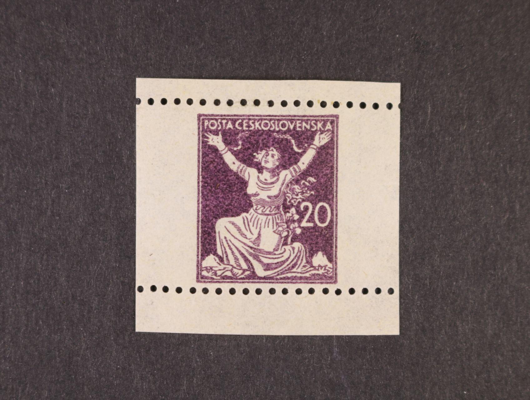ZT 20h v barvě fialově hnědé s vodorovnou perforací, 2. návrh s jednou nominál. hodnotou vpravo ze soutisku, zk. Vrba