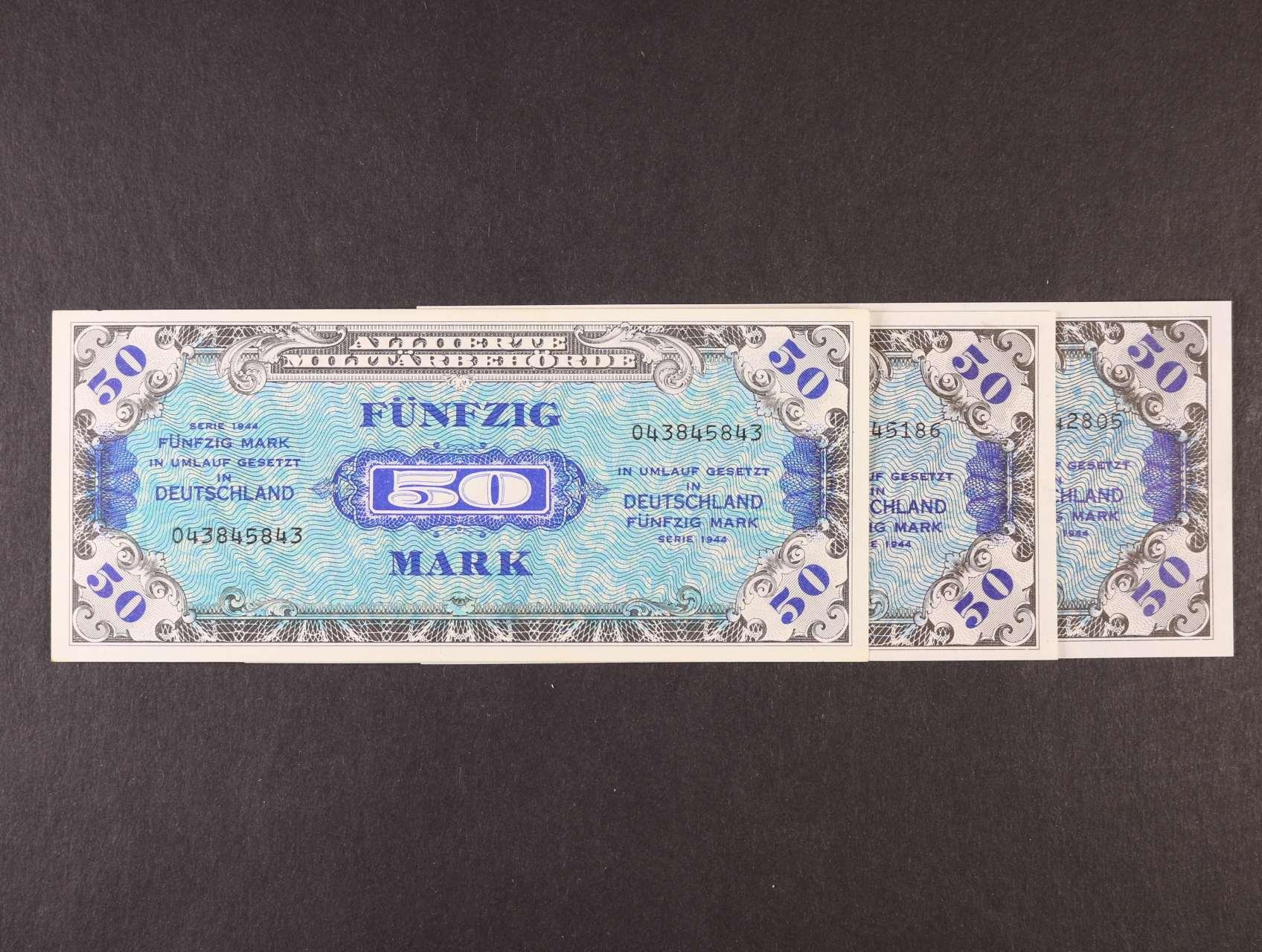 Allierte, 50 Mark 1944 9-ti místný číslovač, tisk USA + 8-mi a 9-ti místný číslovač, tisk SSSR, platné na ČS území, Ro. 205 a, c, d, Ba. AM6a, c, d