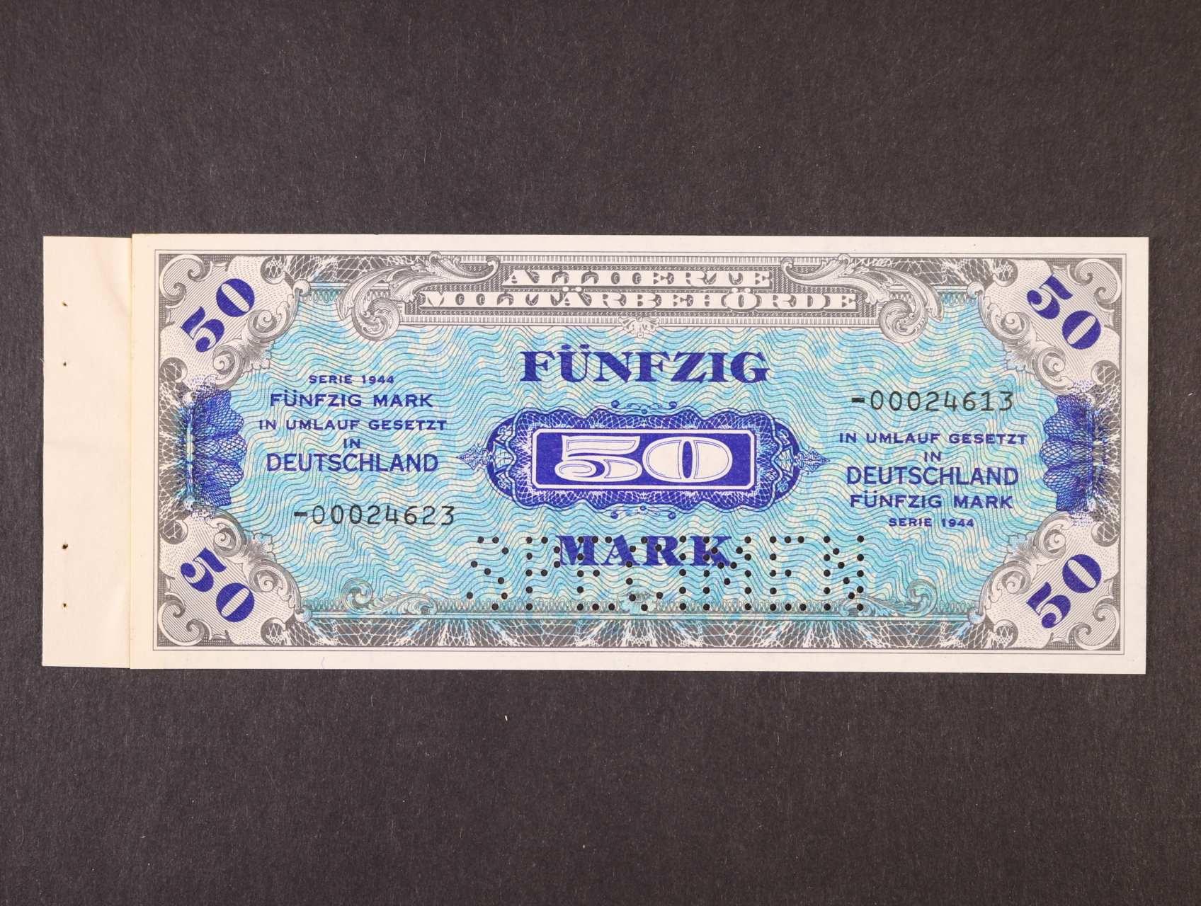 Allierte, 50 Mark 1944 8-mi místný číslovč, tisk USA, perforace SPECIMEN, přilepeno na papíře ze vzorového sešitku, platná na ČS území, Ro. 205b, Ba. AM6b