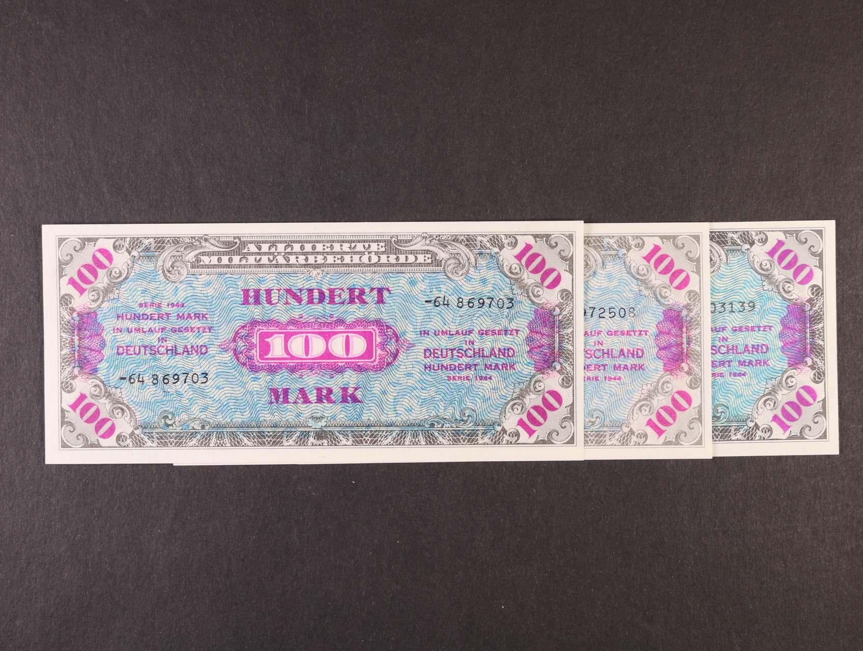 Allierte, 100 Mark 1944 9-ti místný číslovač, tisk USA + 8-mi a 9-ti místný číslovač, tisk SSSR, platné na ČS území, Ro. 206 a, c, d, Ba. AM7a, c, d