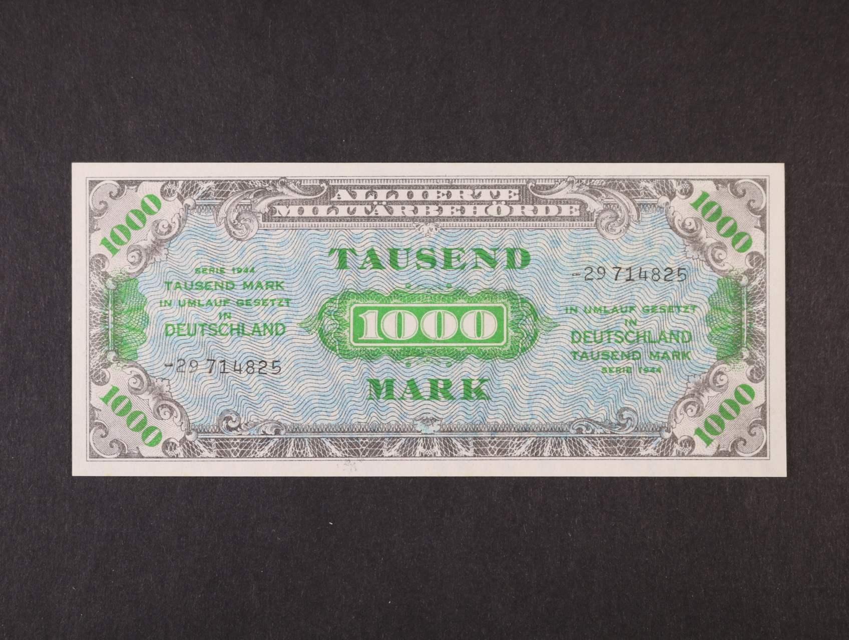 Allierte, 1000 Mark 1944 8-mi místný číslovač, tisk SSSR, platná na ČS území, Ro. 207 c, Ba. AM8c