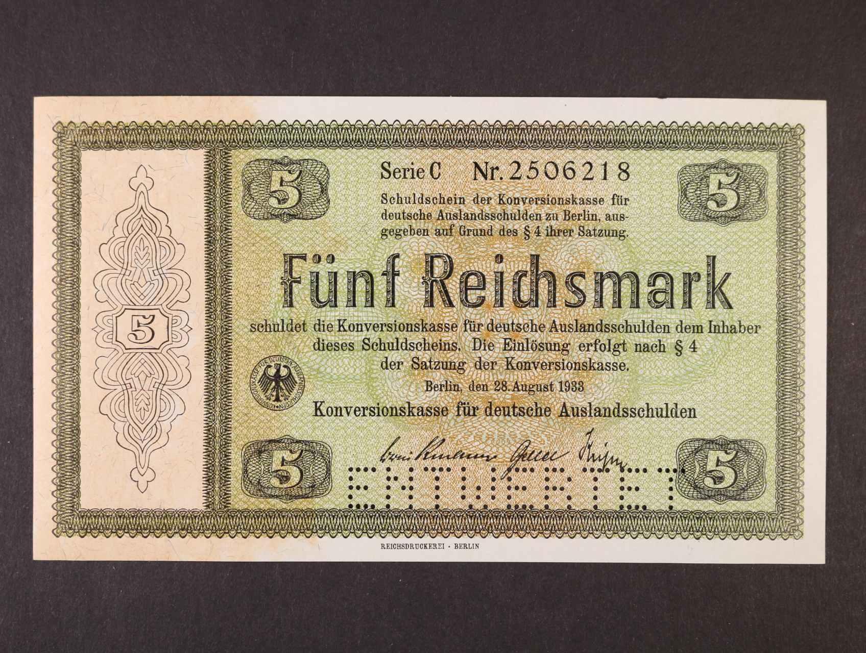 5 RM 28.8.1933 série C Konversionskassenschein, perforace ENTWERTET, Ro. 700 E1