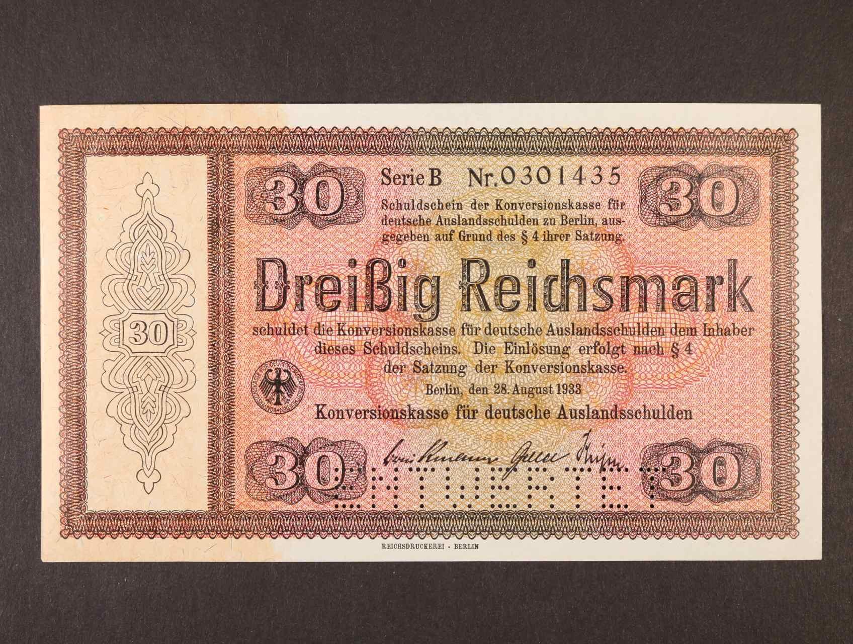30 RM 28.8.1933 série B Konversionskassenschein. perforace ENTWERTET, Ro. 702E1