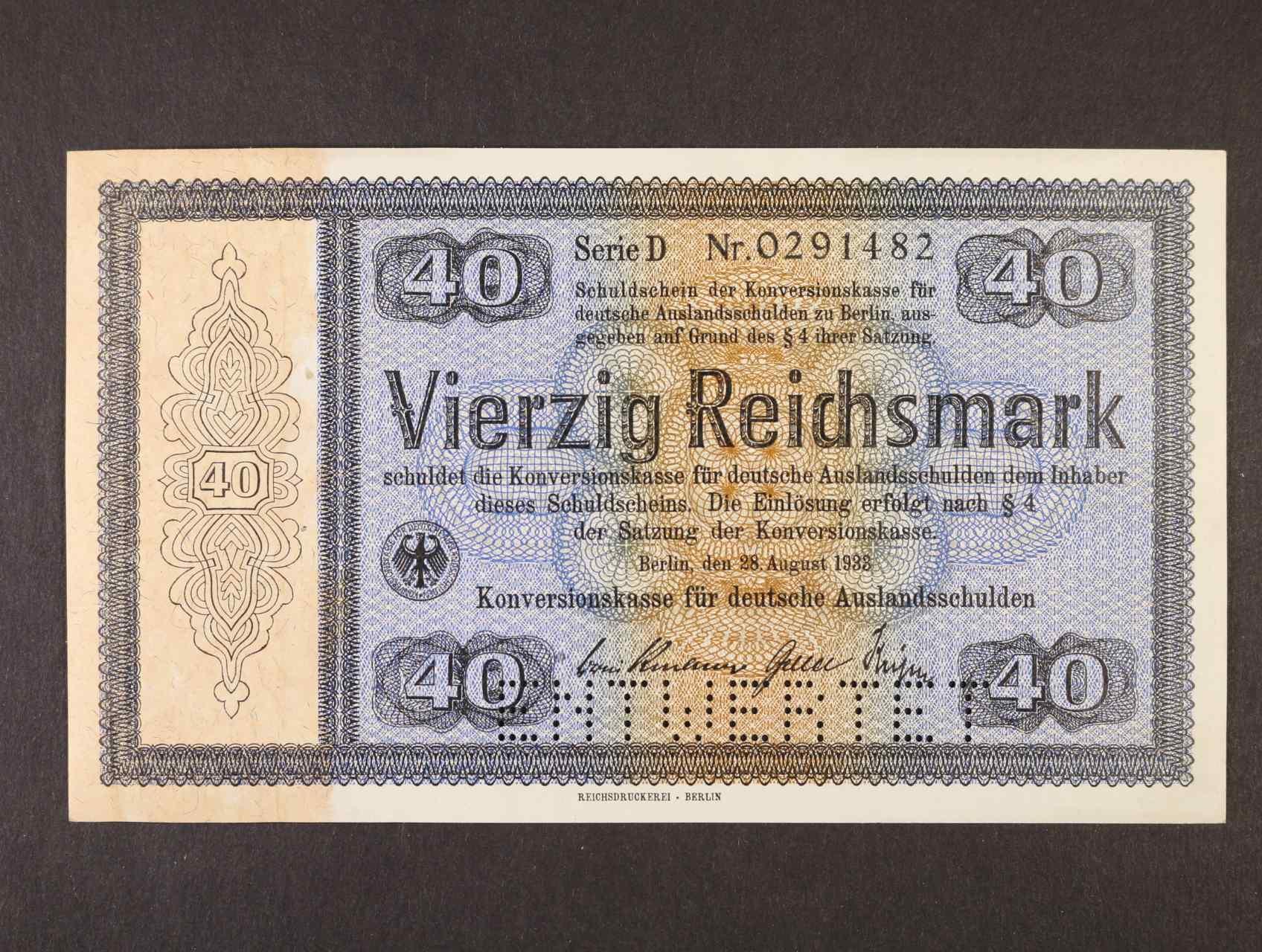 40 RM 28.8.1933 série D Konversionskassenschein, perforace ENTWERTET, Ro. 703E1