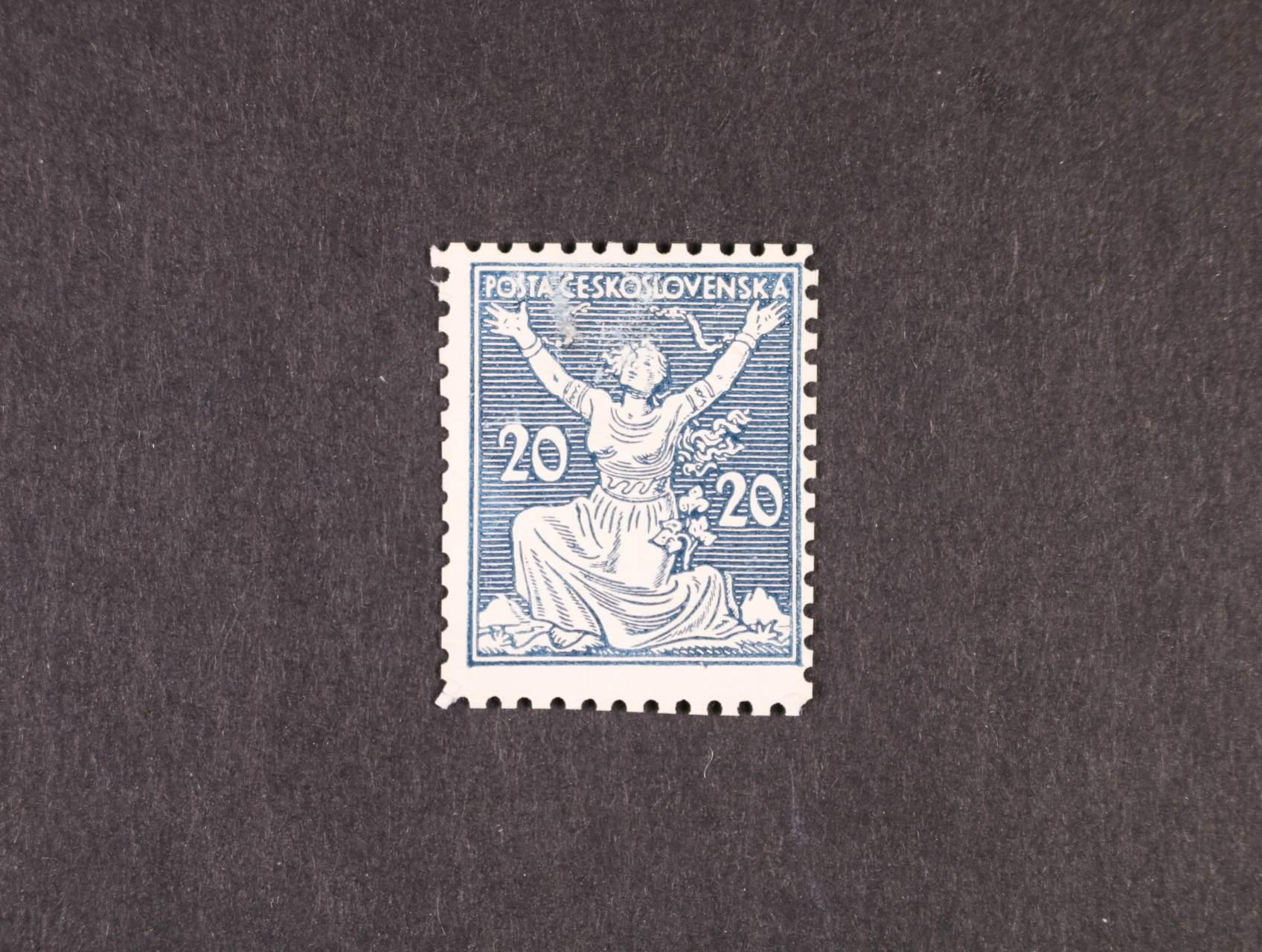 ZT 20h v barvě zelenomodré na kříd. papíře, 3. návrh, s nominální hodnotou na obou stranách, linkované pozadí, ŘZ 11 1/2, zk. Karásek