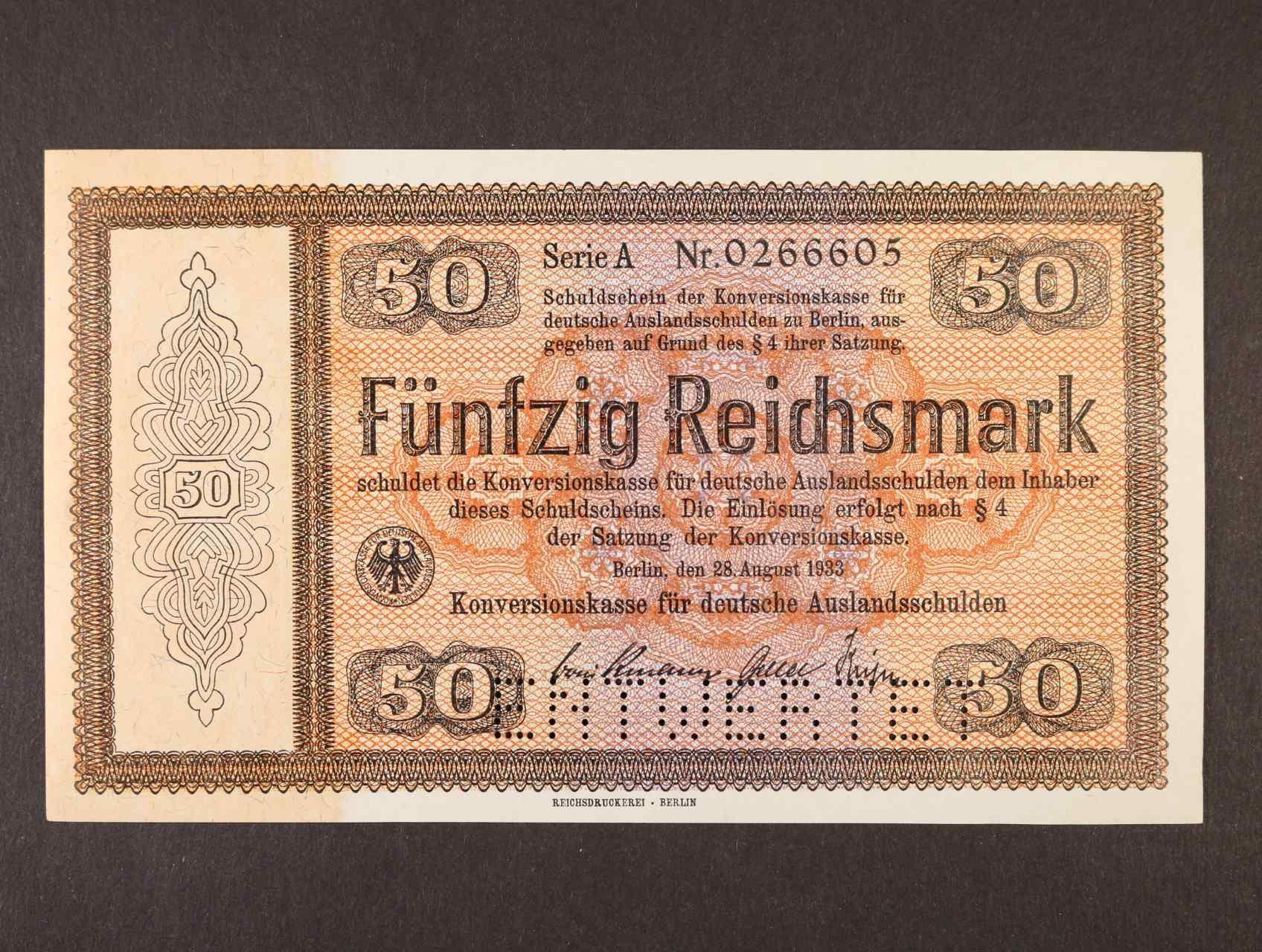 50 RM 28.8.1933 série A Konversionskassenschein, perforace ENTWERTET, Ro. 704 E1