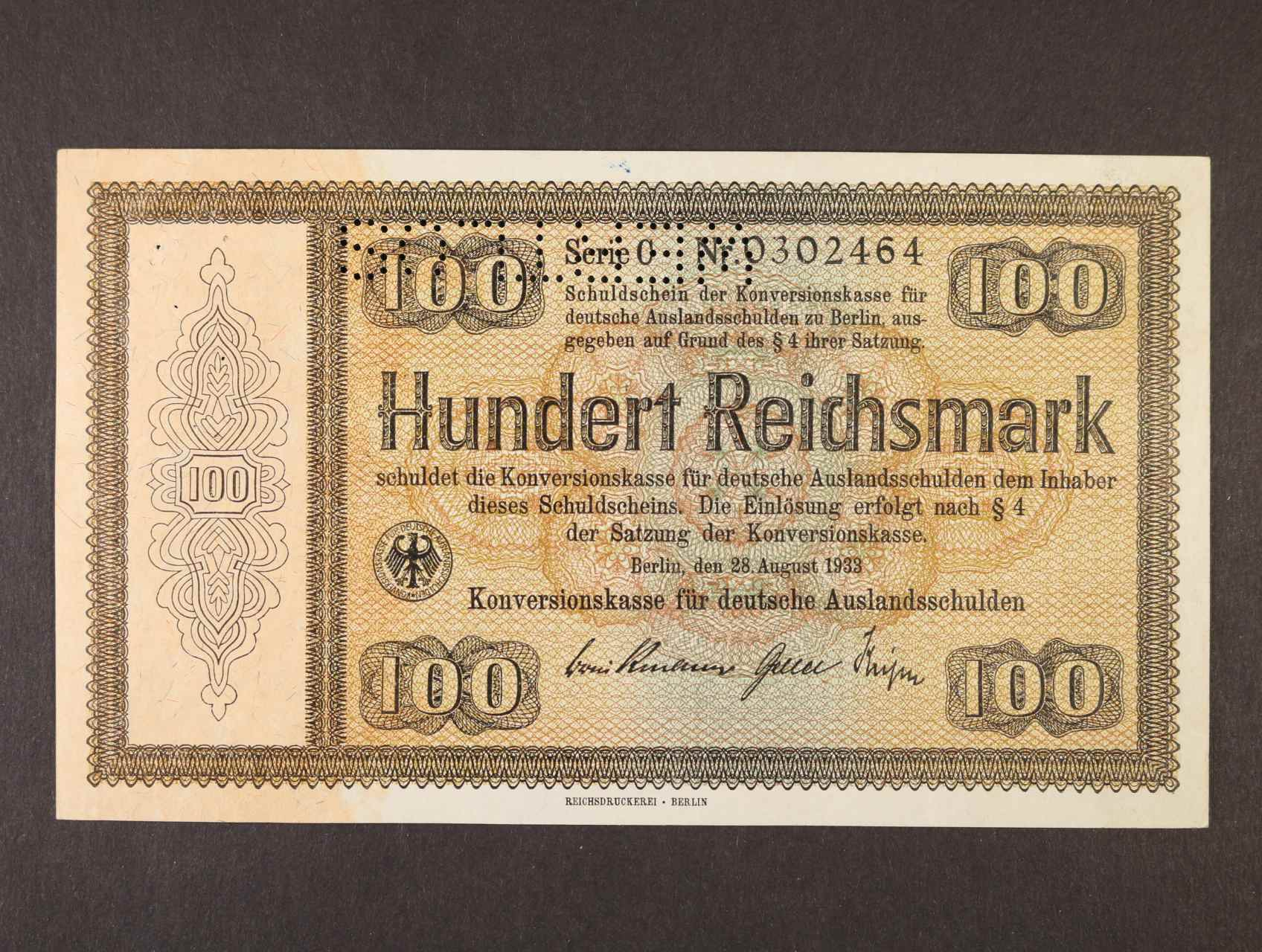 100 RM 28.8.1933 série C Konversionskassenschein, obrácená perforace WERTLOS, Ro. 705E2