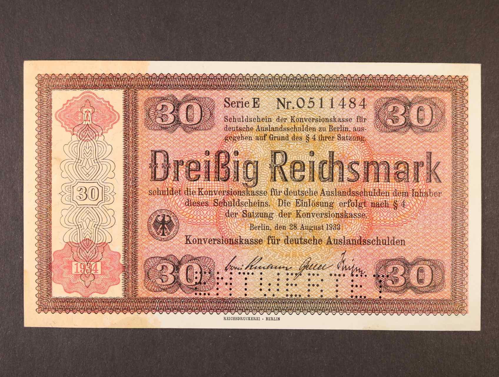 30 RM 28.8.1933 série E s přetiskem 1934  Konversionskassenschein s perforace ENTWERTET, Ro. 710E1