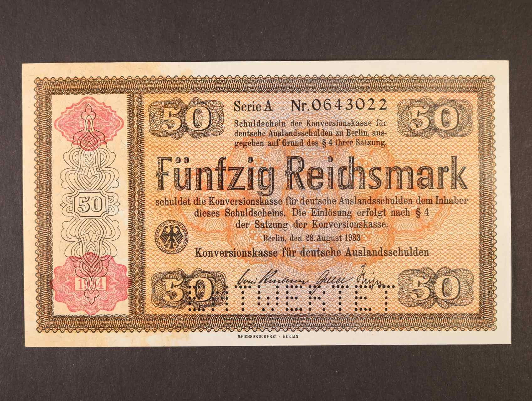 50 RM 28.8.1933 série A s přetiskem 1934  Konversionskassenschein, perforace ENTWERTET, Ro. 712E1