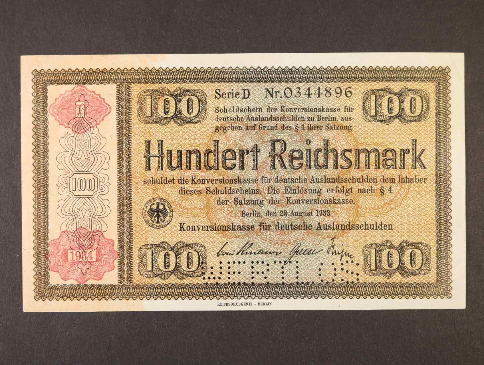 100 RM 28.8.1933 série D s přetiskem 1934  Konversionskassenschein s perf. WERTLOS, Ro. 713E2