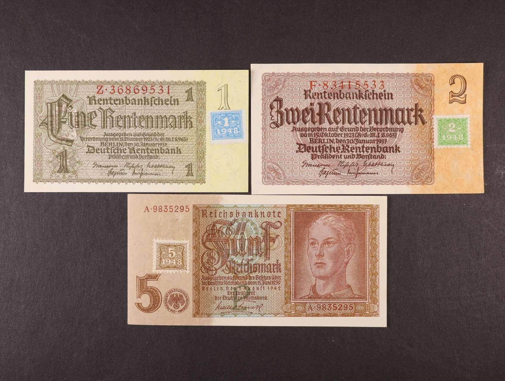1, 2, 5 DM 1948 kolkované, Ro. 330, 331, 333