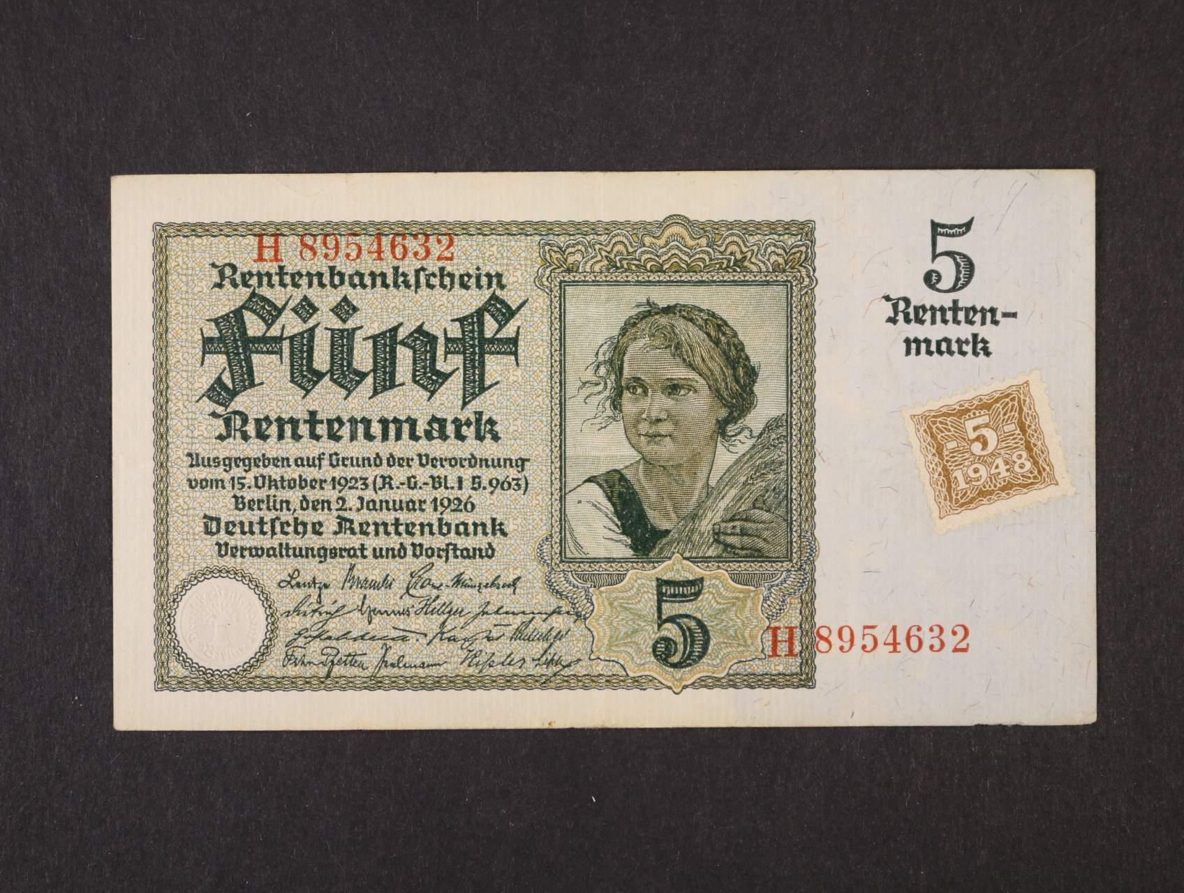 5 DM 1948 / 1926 kolkovaná, Ro. 332