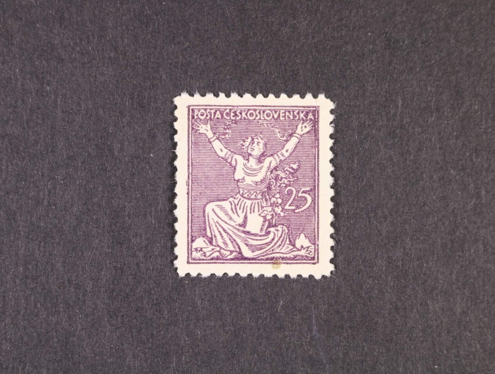 ZT 25h v barvě fialové, 2. návrh s jednou nominální hodnotou vpravo, linkované pozadí, ŘZ 11 1/2, zk. Gilbert