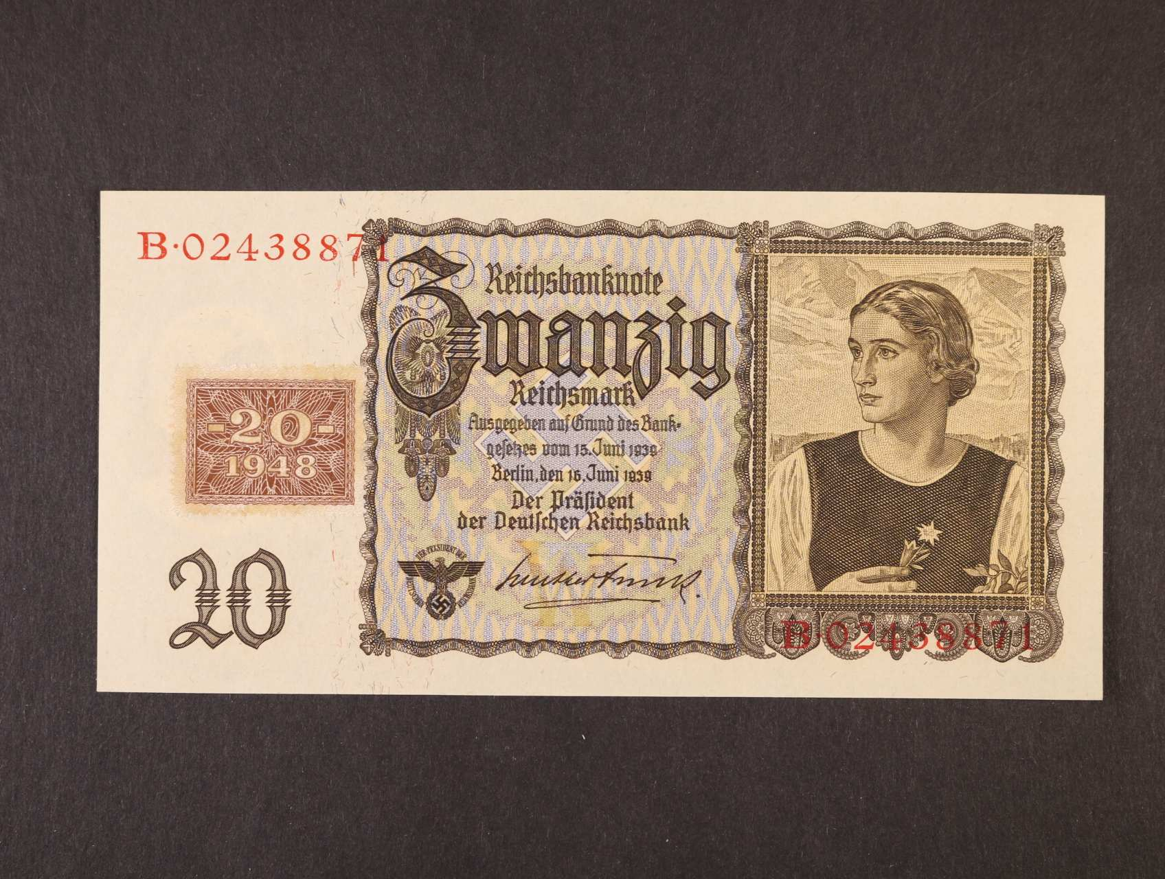 20 DM 1948 / 1939 kolkovaná, Ro. 336